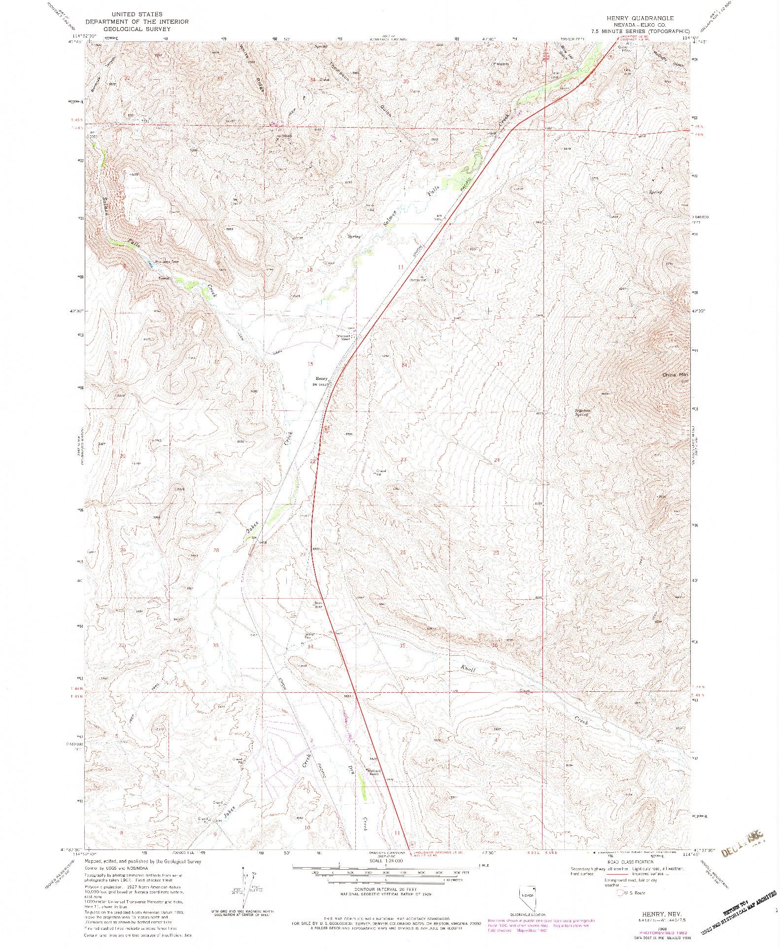 USGS 1:24000-SCALE QUADRANGLE FOR HENRY, NV 1968