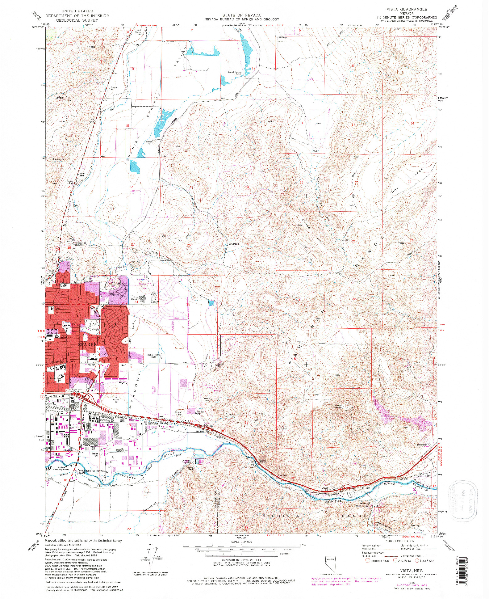 USGS 1:24000-SCALE QUADRANGLE FOR VISTA, NV 1975