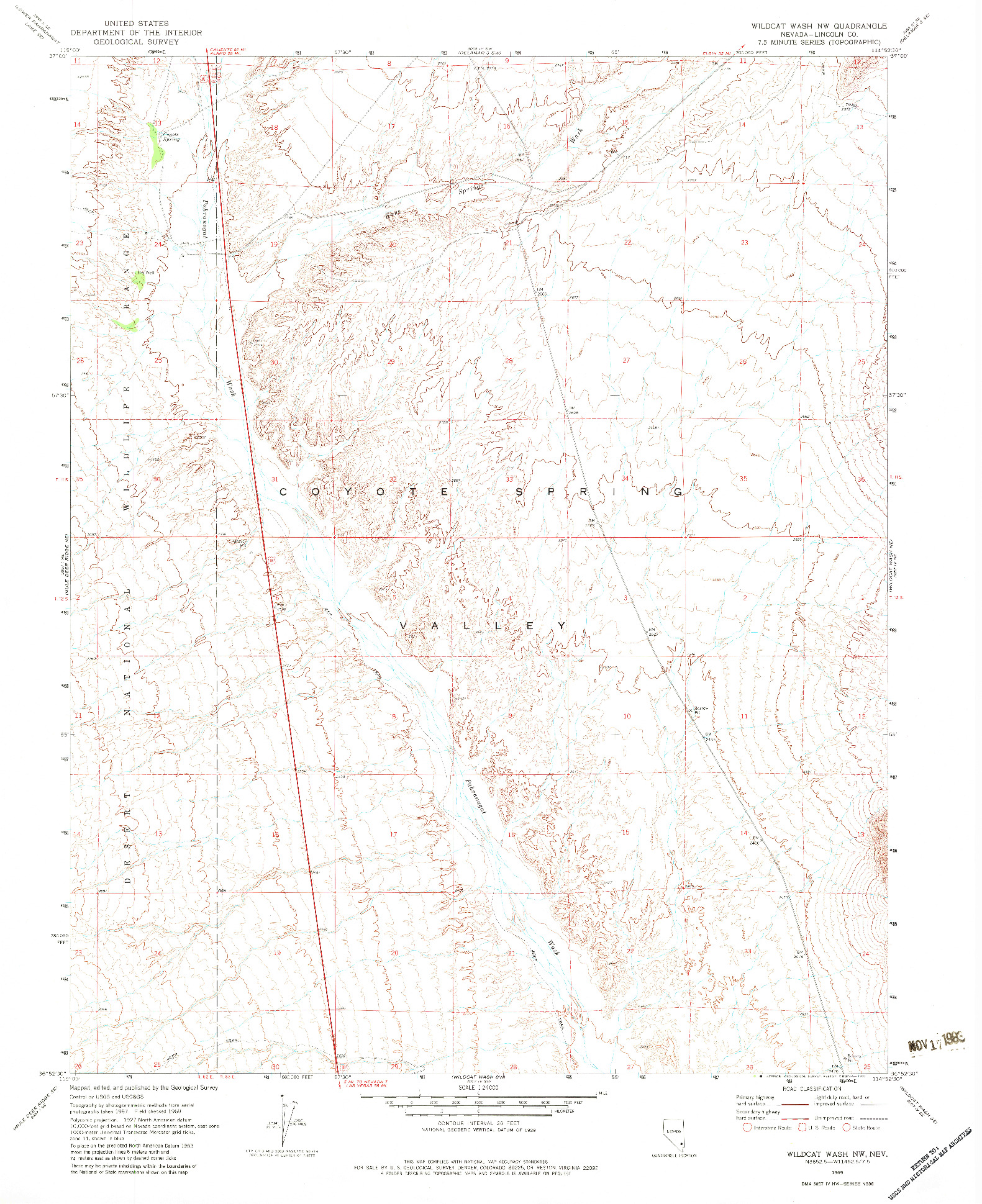 USGS 1:24000-SCALE QUADRANGLE FOR WILDCAT WASH NW, NV 1969