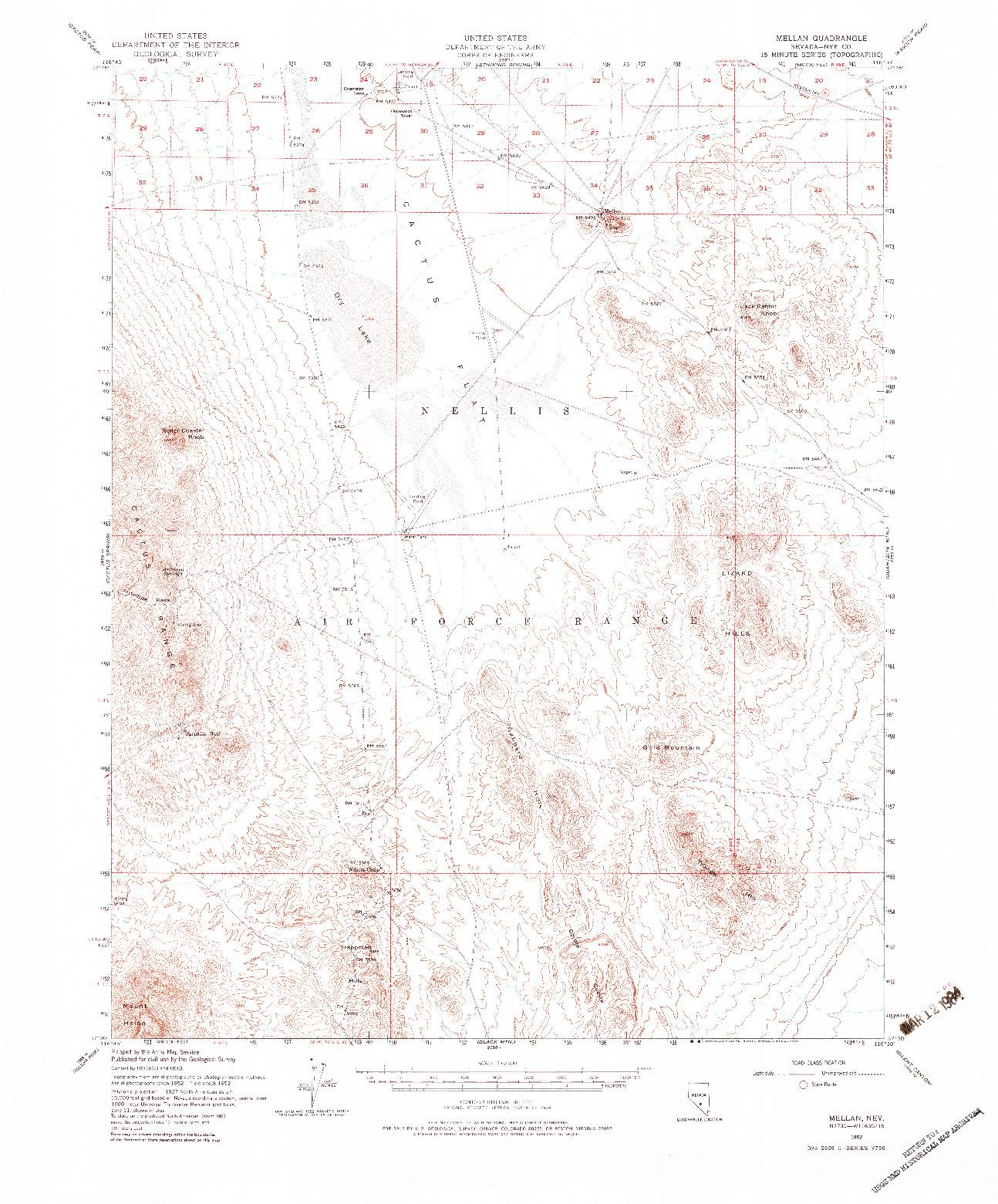 USGS 1:62500-SCALE QUADRANGLE FOR MELLAN, NV 1952
