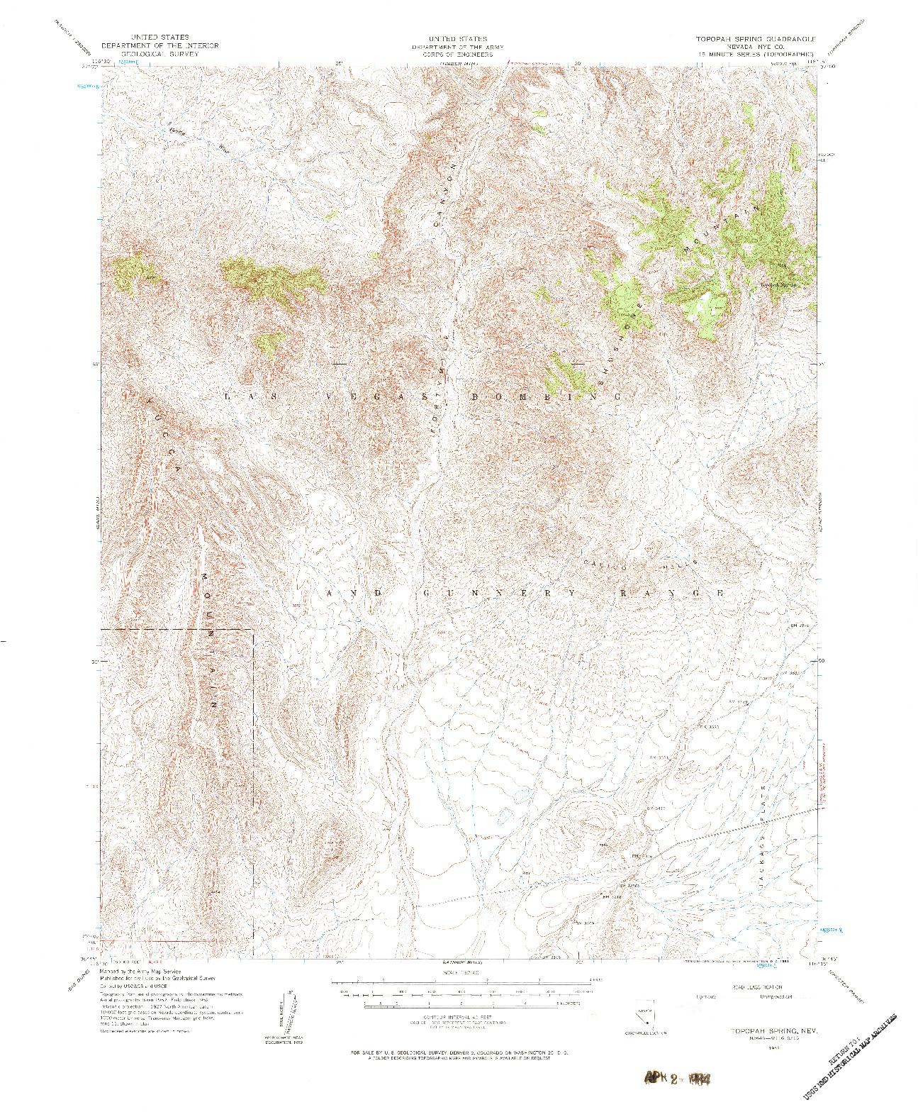 USGS 1:62500-SCALE QUADRANGLE FOR TOPOPAH SPRING, NV 1952
