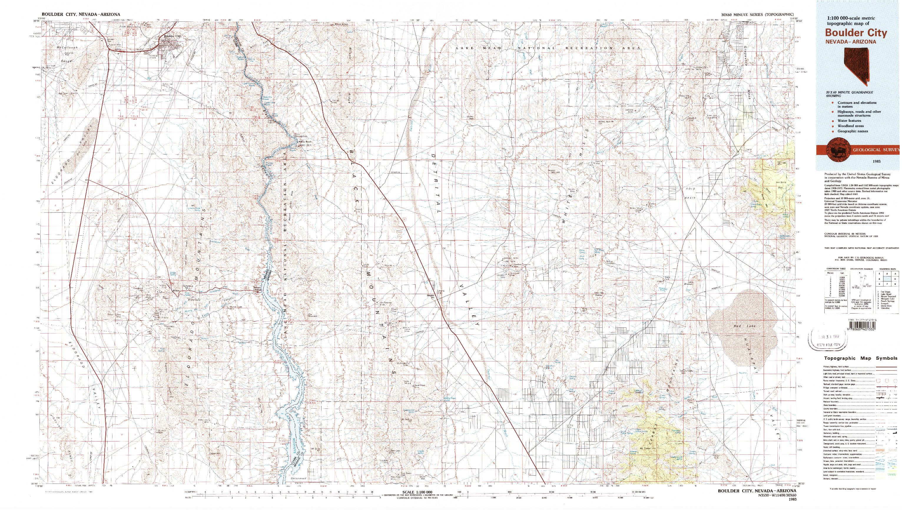 USGS 1:100000-SCALE QUADRANGLE FOR BOULDER CITY, NV 1983