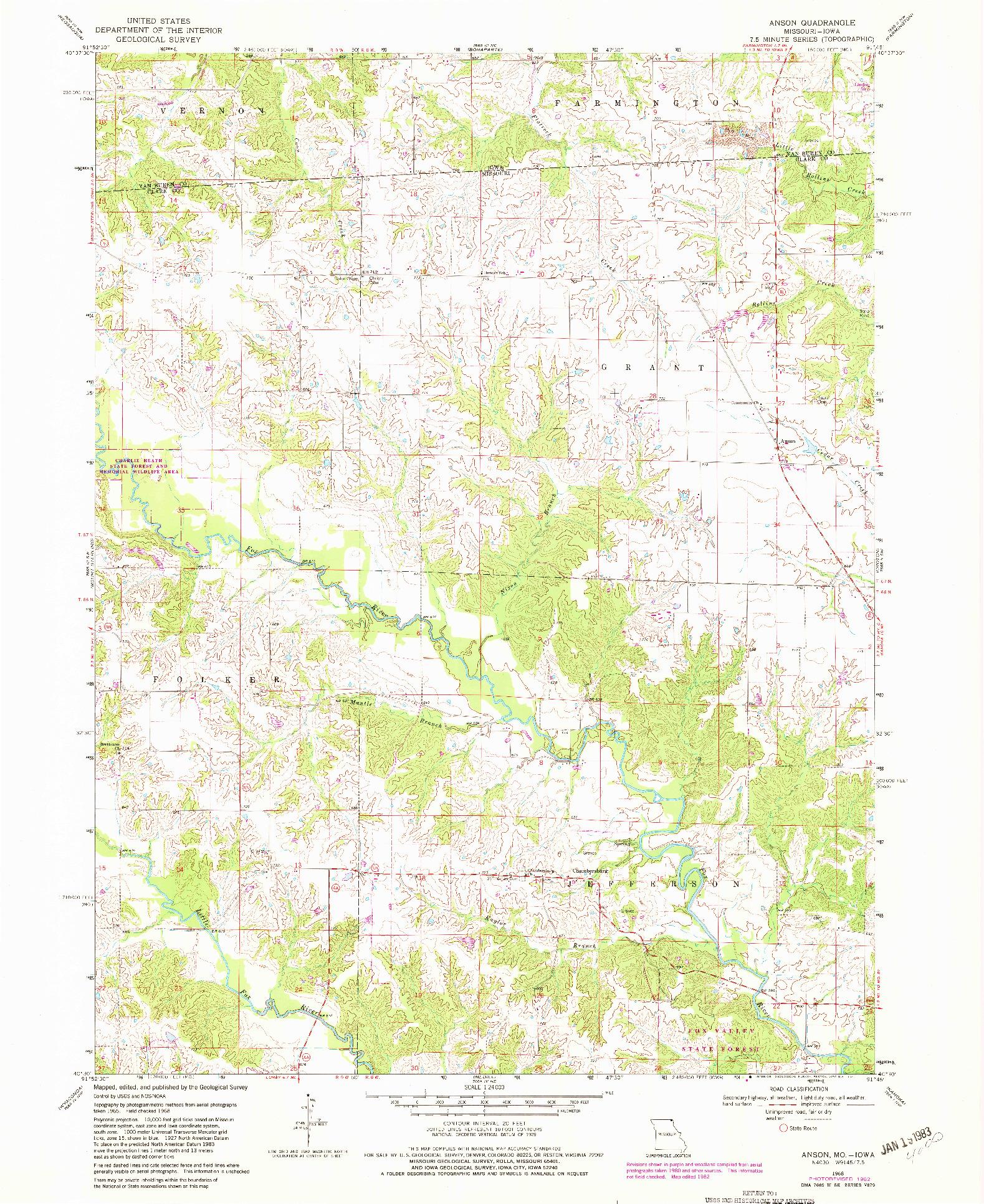 USGS 1:24000-SCALE QUADRANGLE FOR ANSON, MO 1968