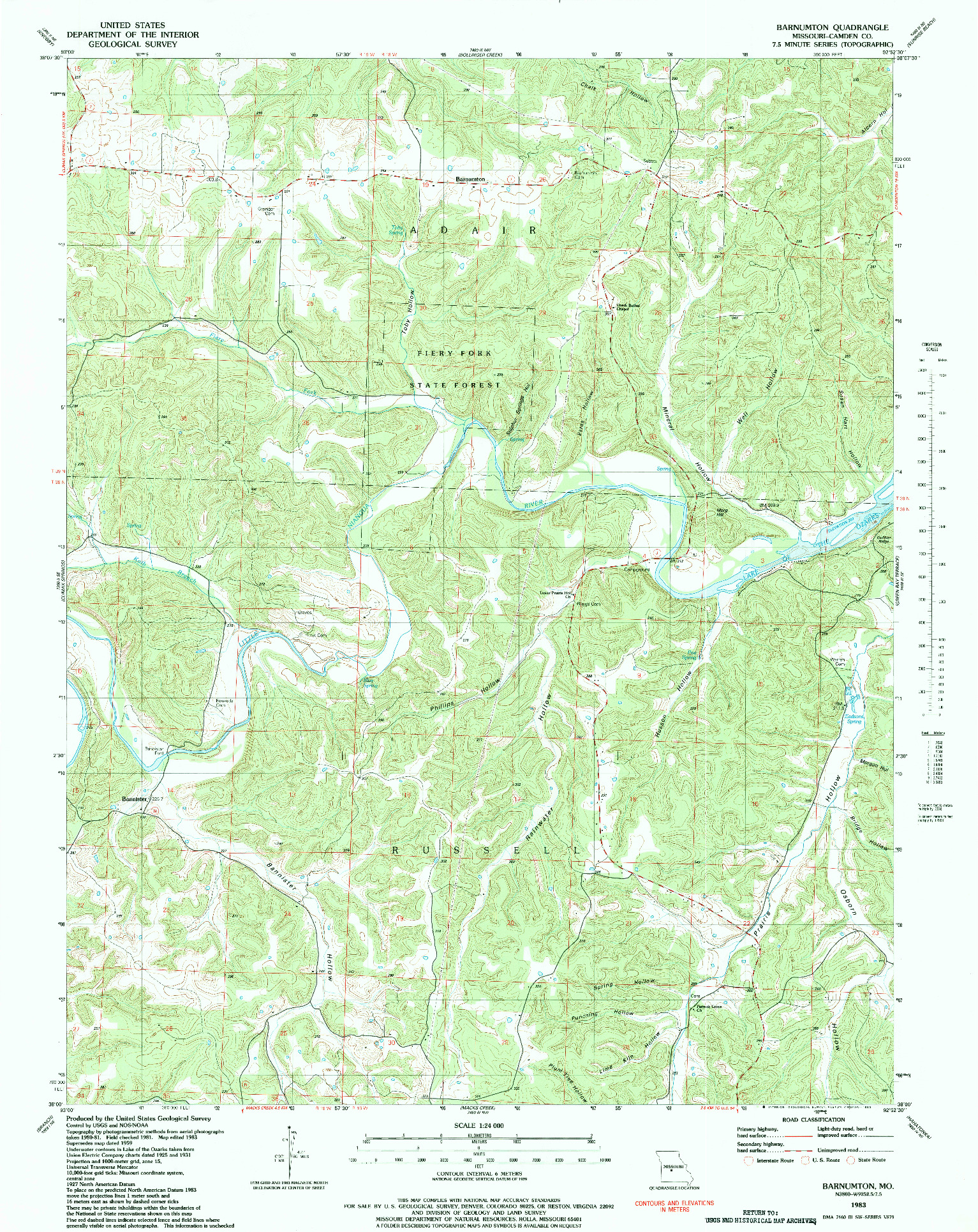 USGS 1:24000-SCALE QUADRANGLE FOR BARNUMTON, MO 1983