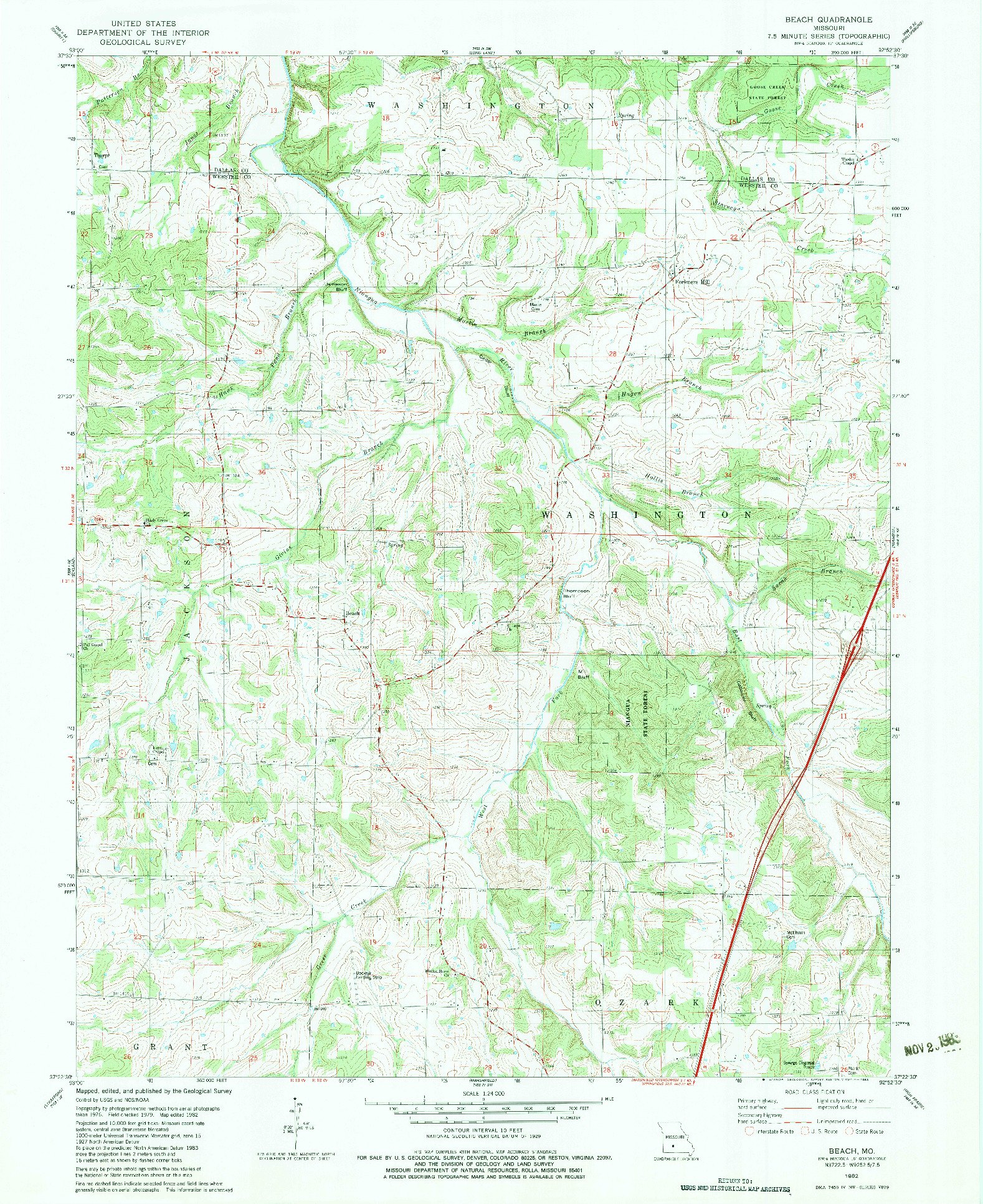USGS 1:24000-SCALE QUADRANGLE FOR BEACH, MO 1982