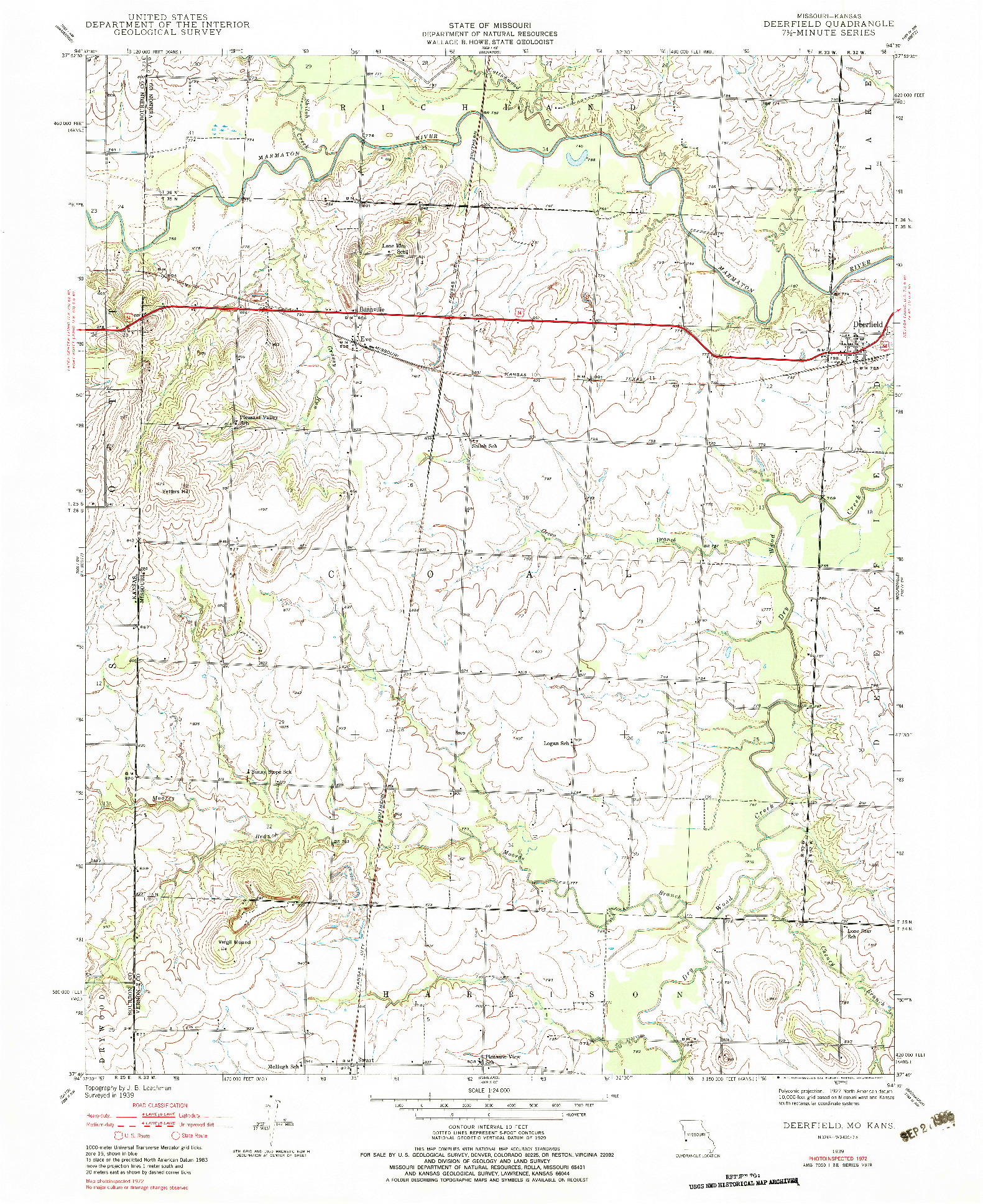 USGS 1:24000-SCALE QUADRANGLE FOR DEERFIELD, MO 1939
