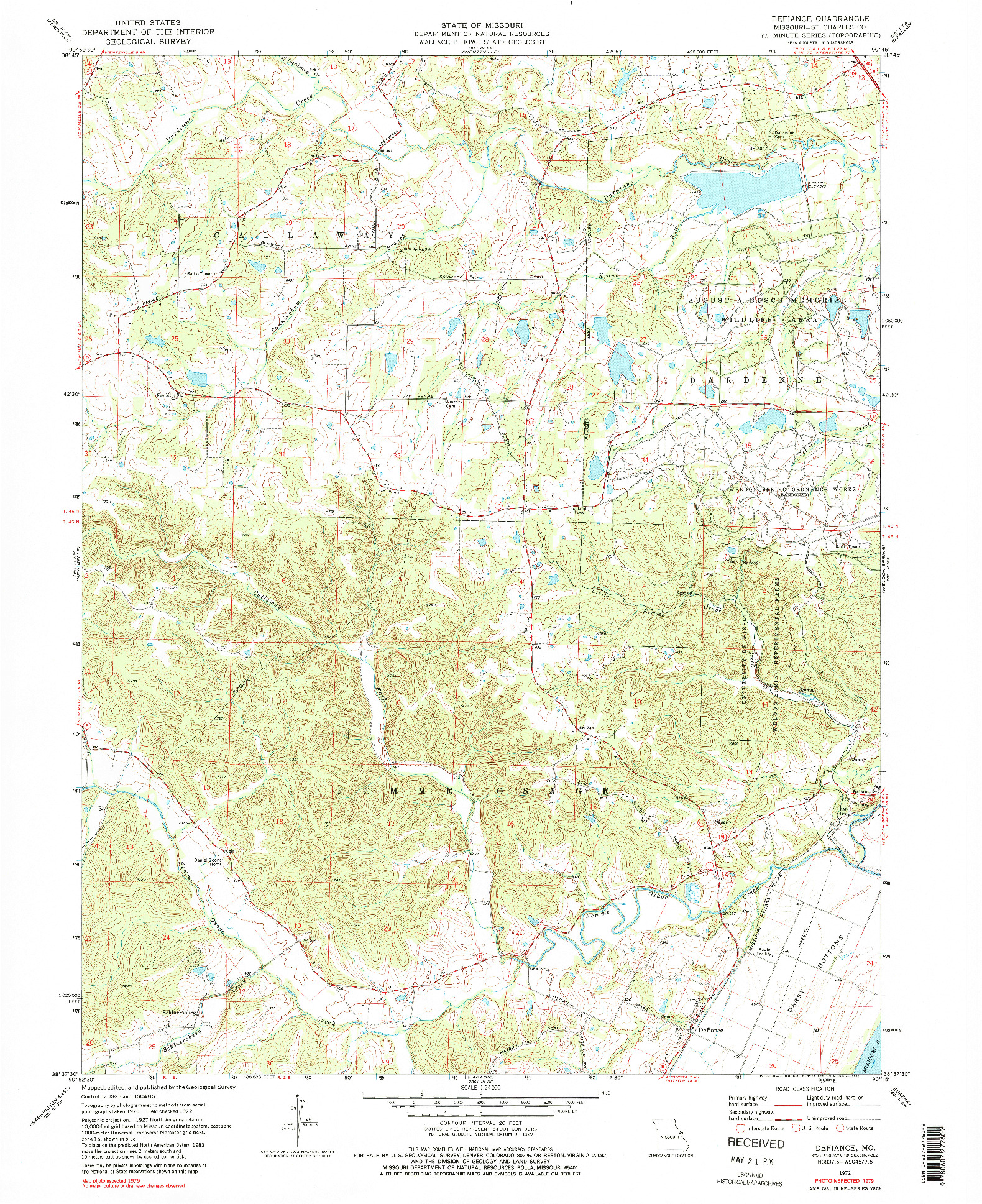 USGS 1:24000-SCALE QUADRANGLE FOR DEFIANCE, MO 1972