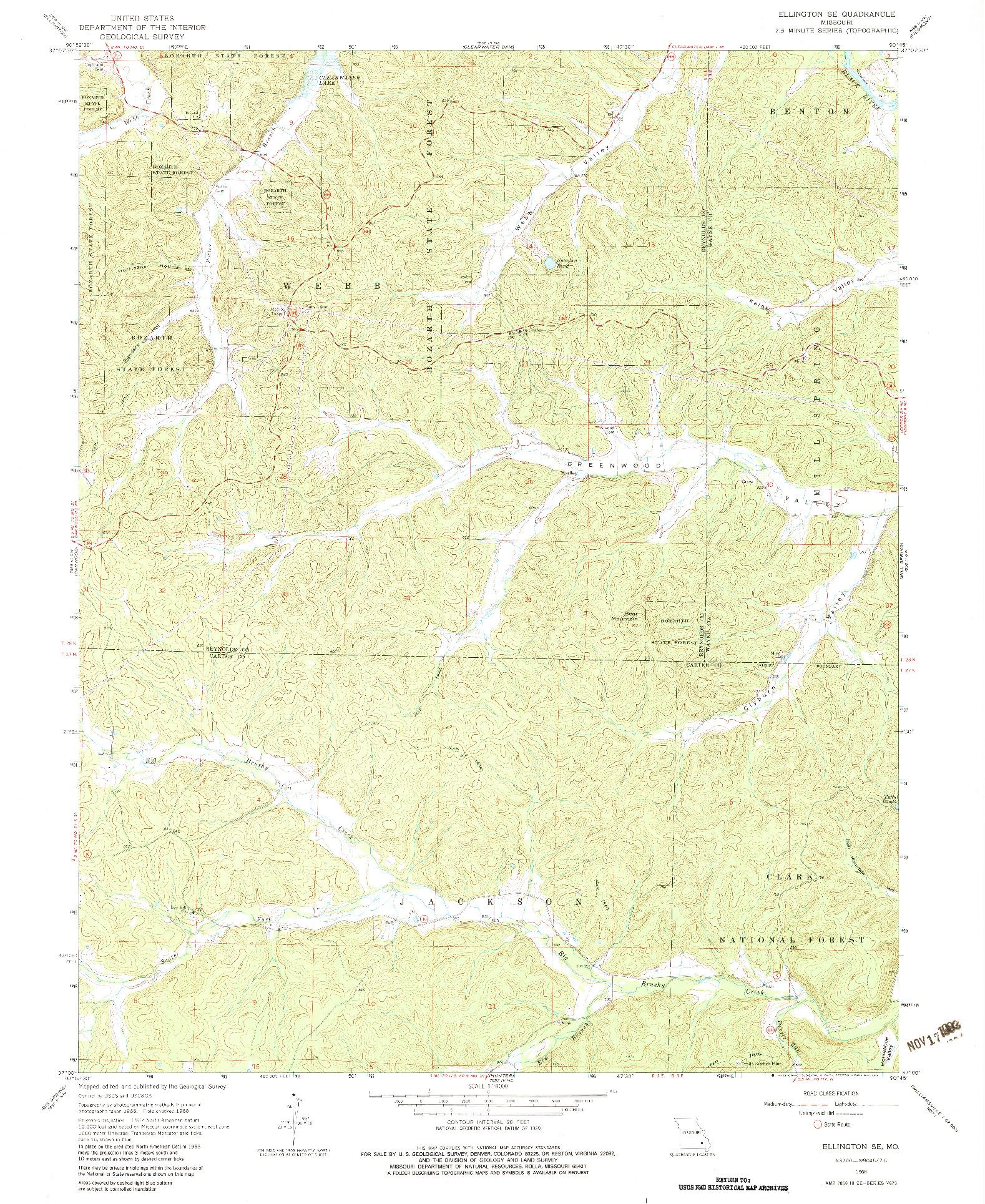 USGS 1:24000-SCALE QUADRANGLE FOR ELLINGTON SE, MO 1968