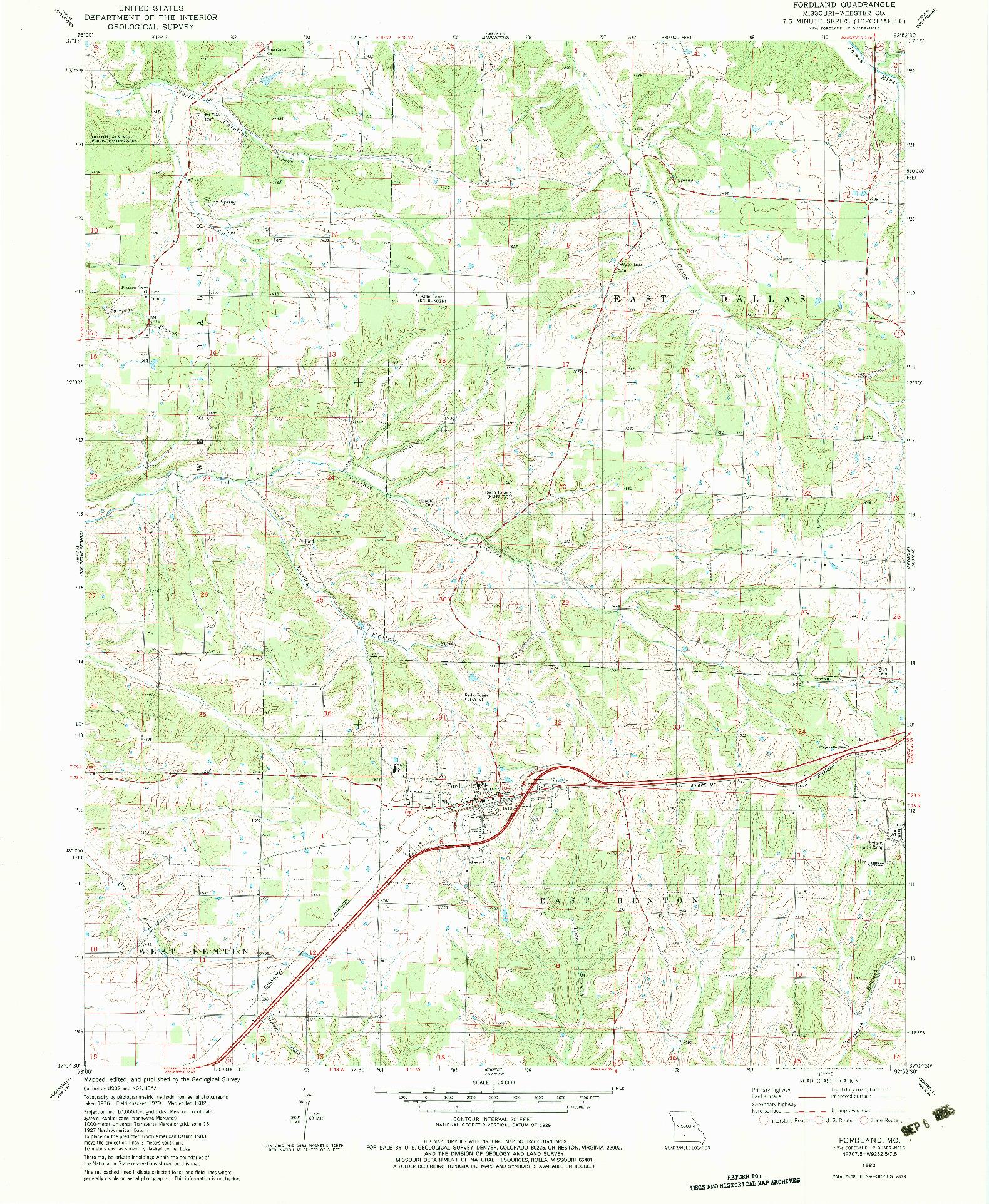 USGS 1:24000-SCALE QUADRANGLE FOR FORDLAND, MO 1982