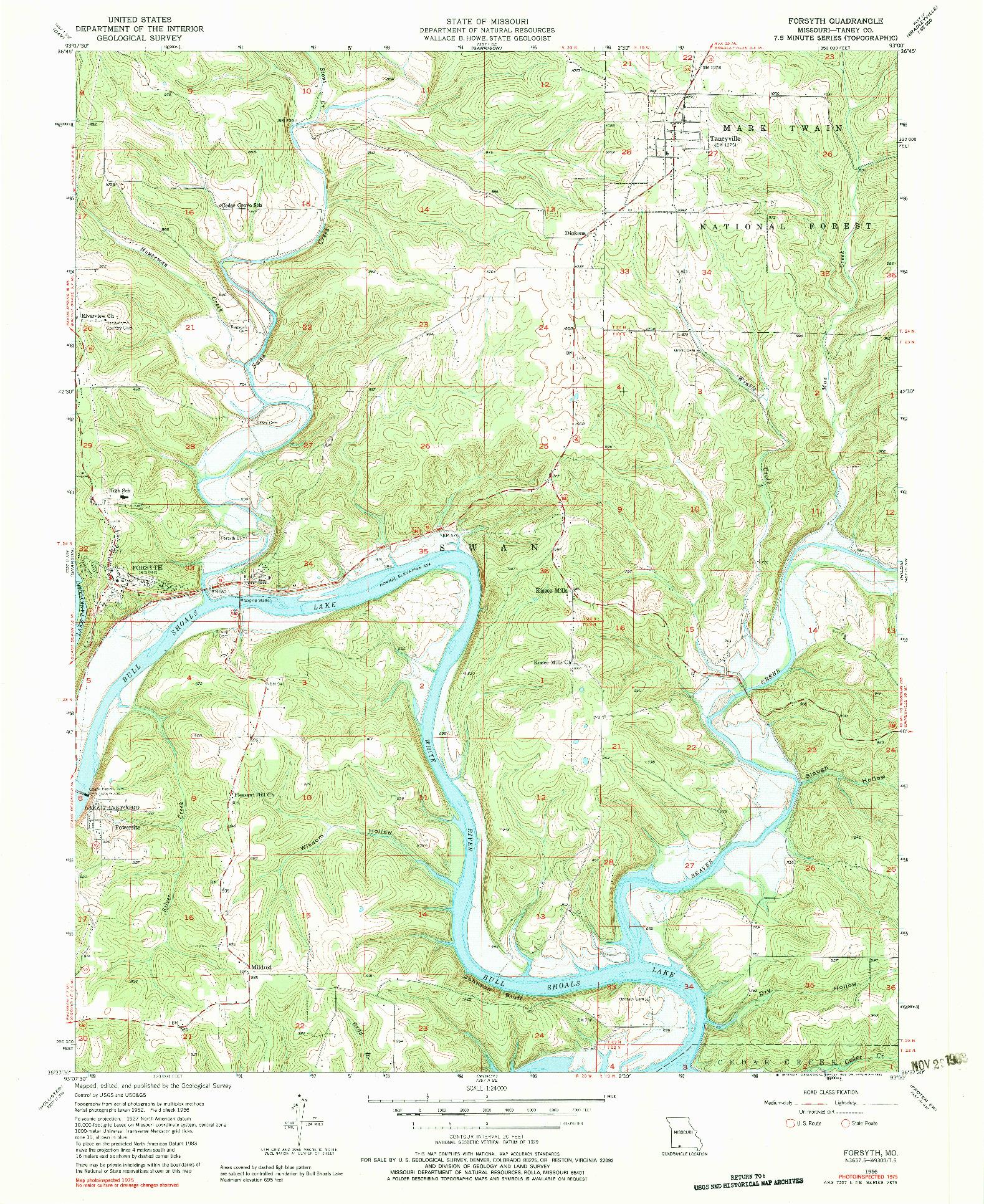 USGS 1:24000-SCALE QUADRANGLE FOR FORSYTH, MO 1956