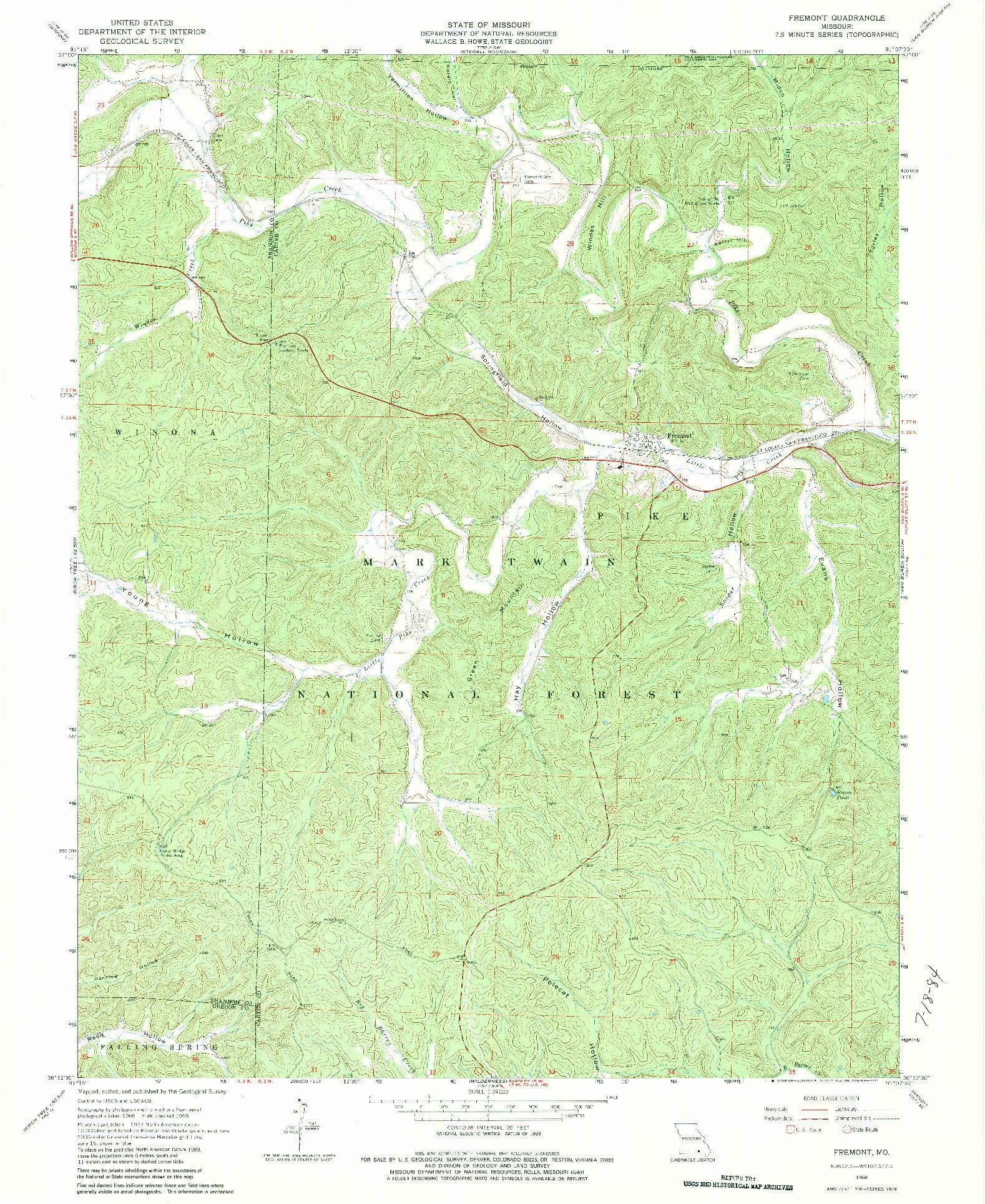 USGS 1:24000-SCALE QUADRANGLE FOR FREMONT, MO 1968