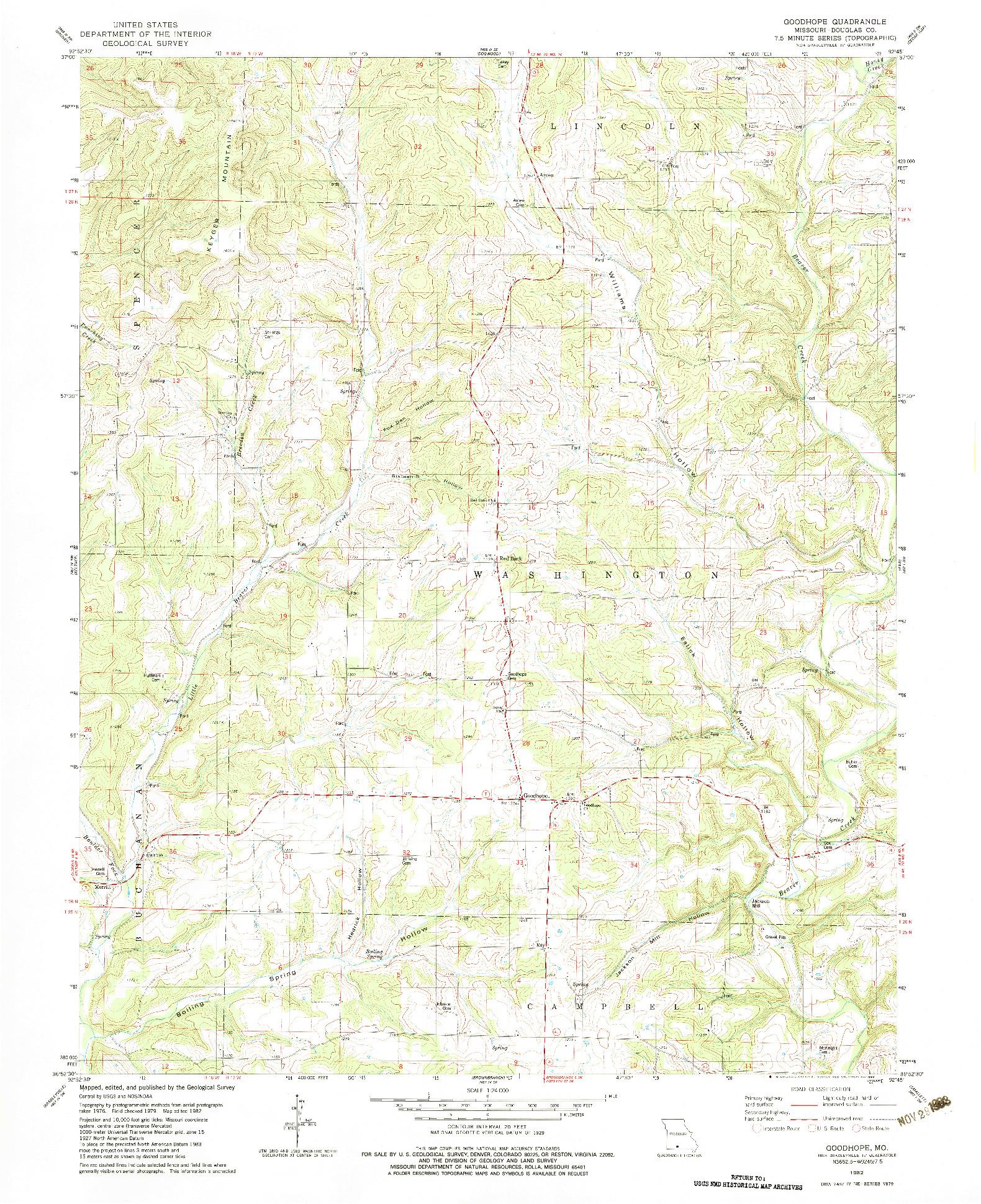 USGS 1:24000-SCALE QUADRANGLE FOR GOODHOPE, MO 1982