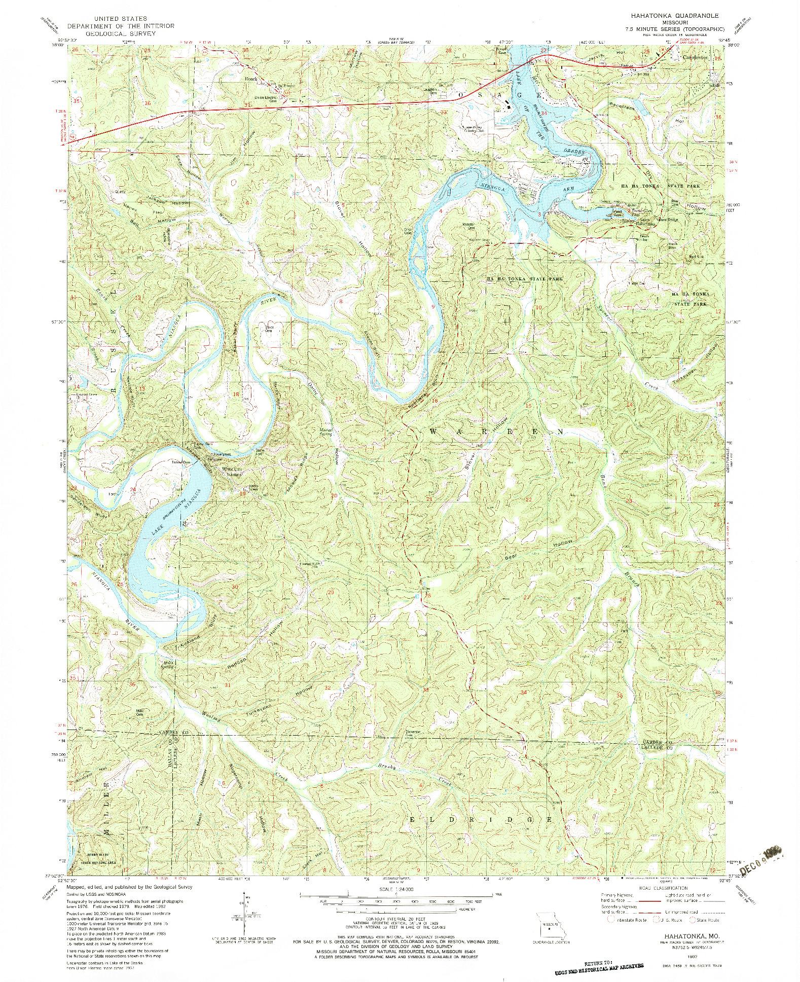 USGS 1:24000-SCALE QUADRANGLE FOR HAHATONKA, MO 1982