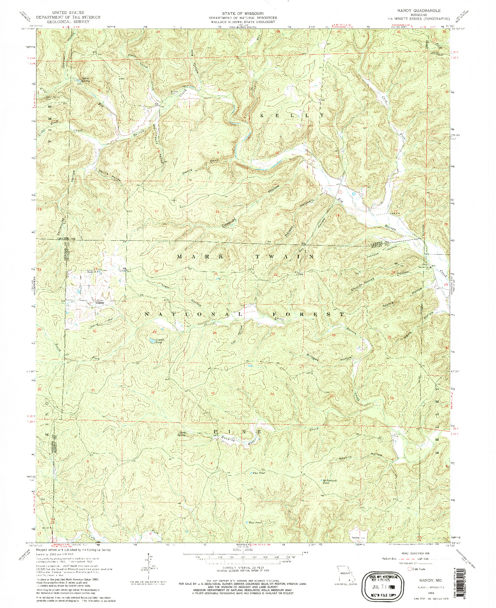USGS 1:24000-SCALE QUADRANGLE FOR HANDY, MO 1968