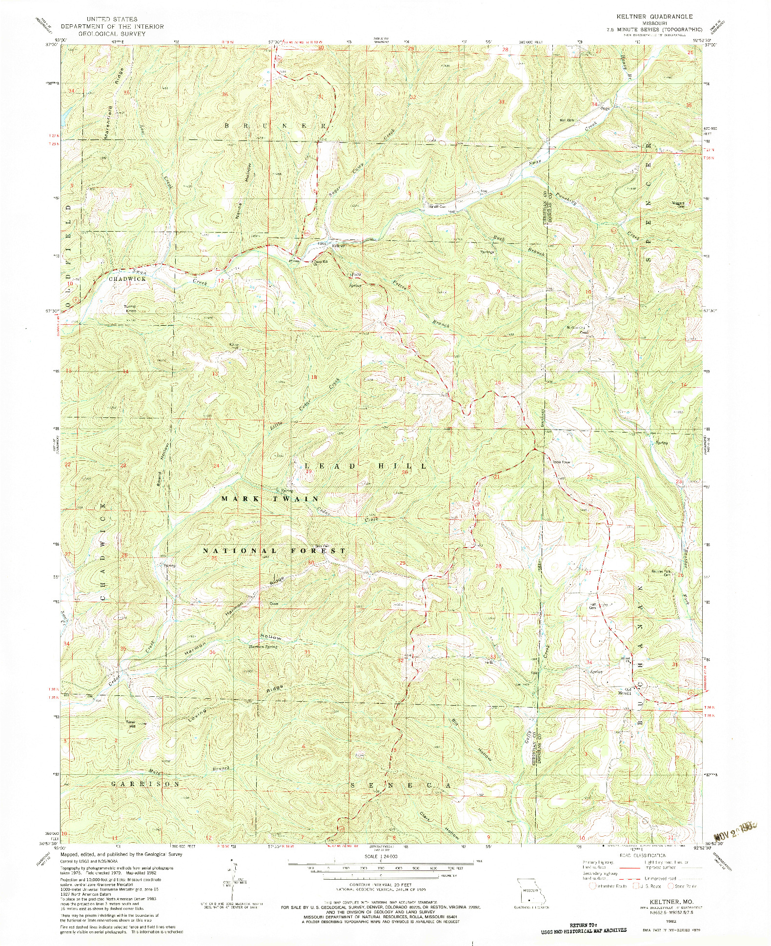 USGS 1:24000-SCALE QUADRANGLE FOR KELTNER, MO 1982