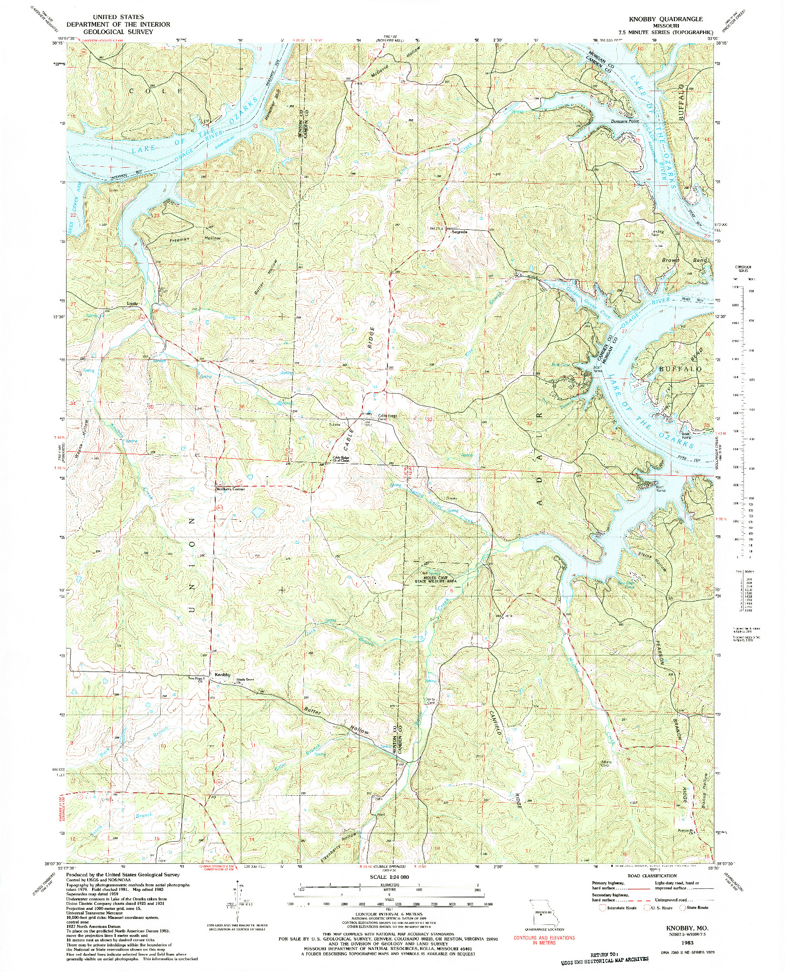 USGS 1:24000-SCALE QUADRANGLE FOR KNOBBY, MO 1983