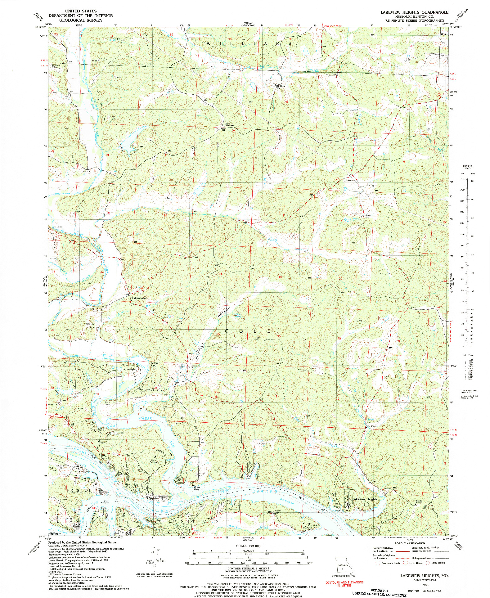 USGS 1:24000-SCALE QUADRANGLE FOR LAKEVIEW HEIGHTS, MO 1983
