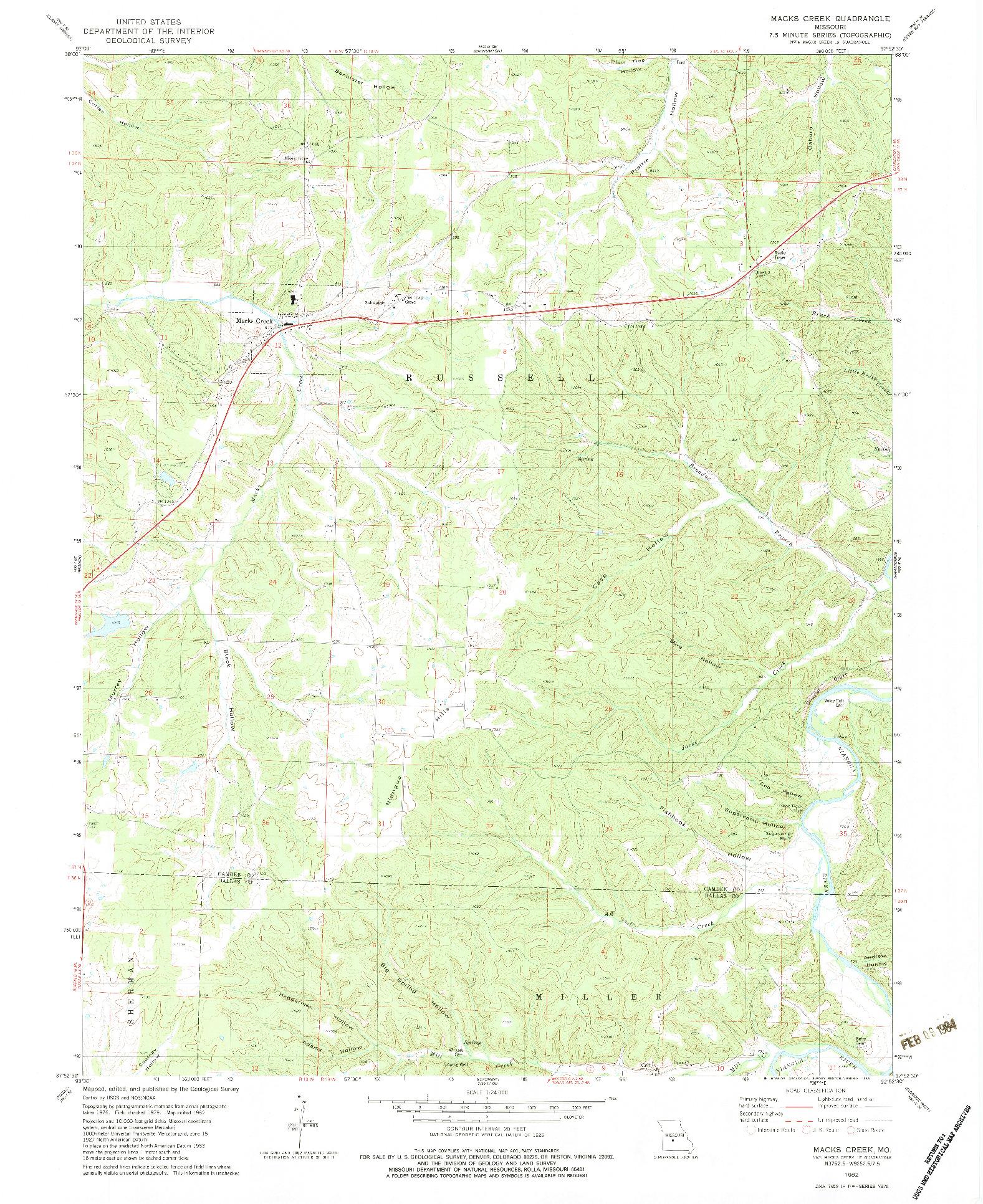 USGS 1:24000-SCALE QUADRANGLE FOR MACKS CREEK, MO 1982