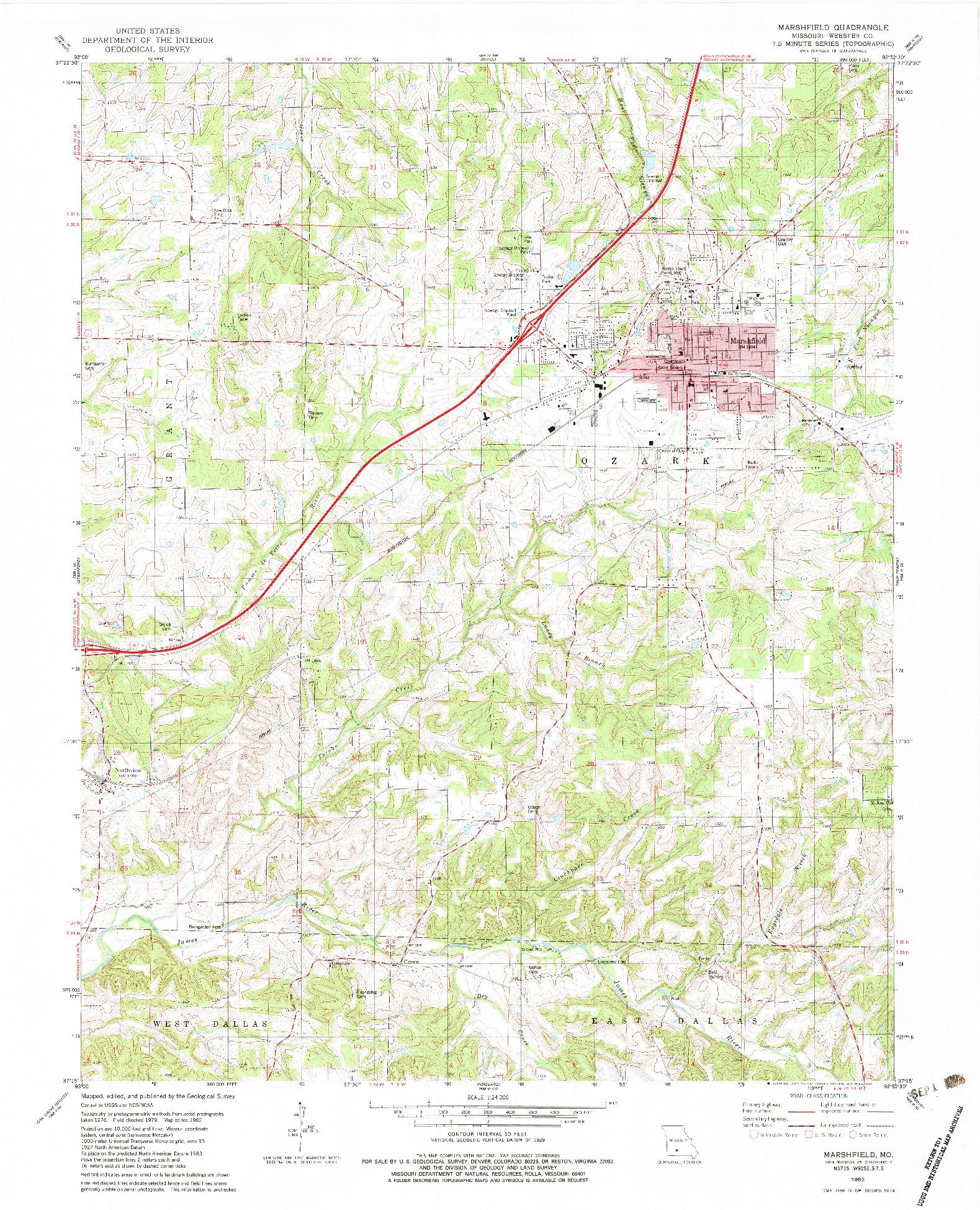 USGS 1:24000-SCALE QUADRANGLE FOR MARSHFIELD, MO 1982