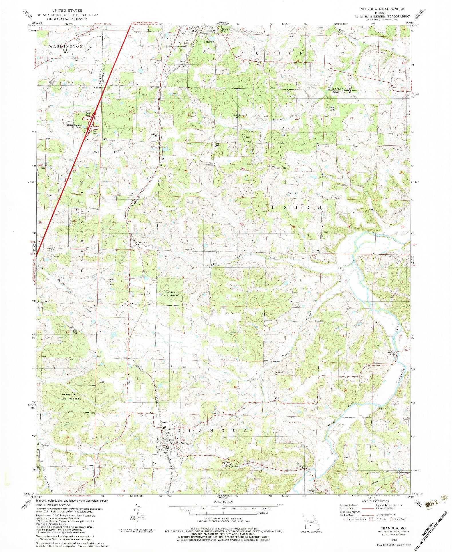 USGS 1:24000-SCALE QUADRANGLE FOR NIANGUA, MO 1982