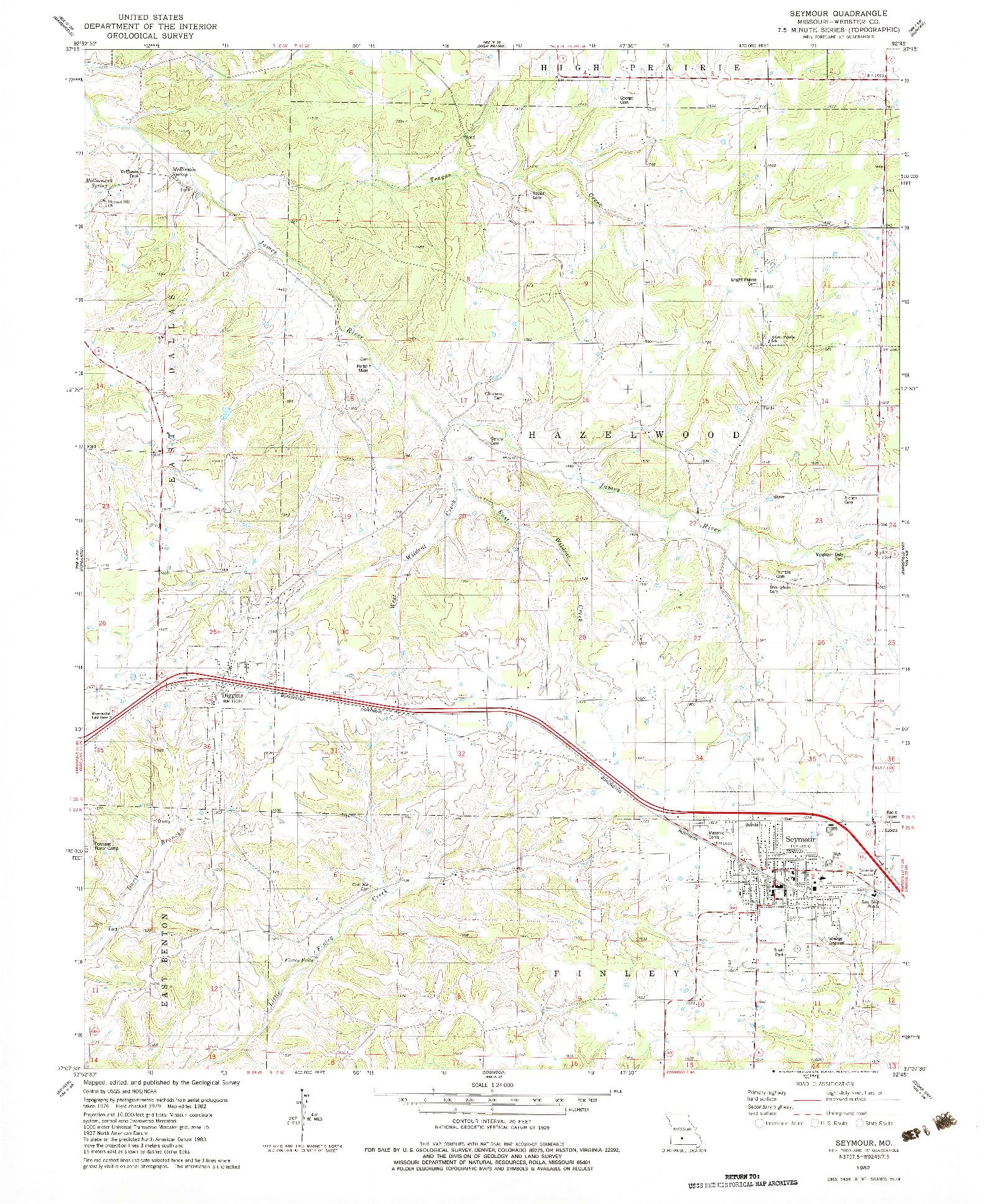 USGS 1:24000-SCALE QUADRANGLE FOR SEYMOUR, MO 1982