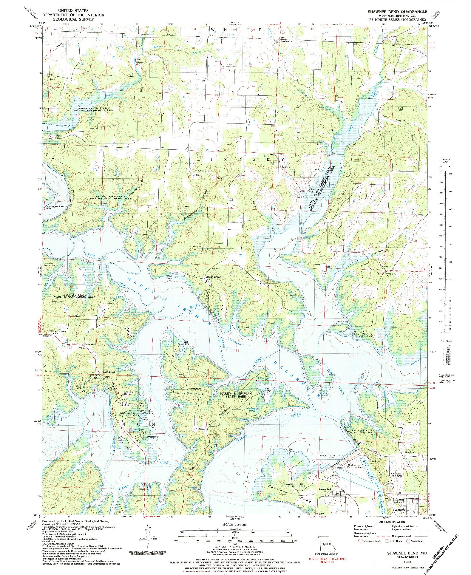USGS 1:24000-SCALE QUADRANGLE FOR SHAWNEE BEND, MO 1983