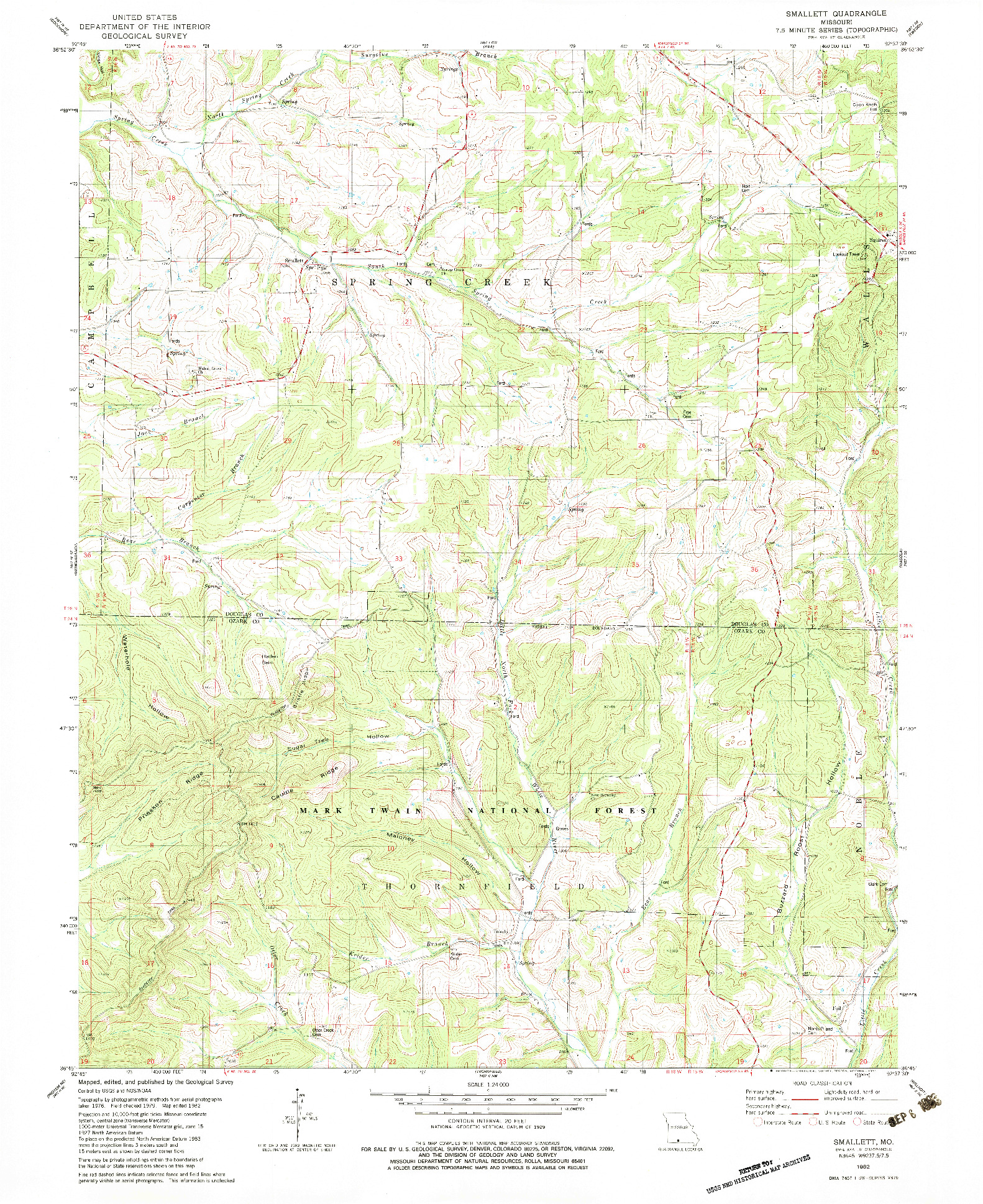 USGS 1:24000-SCALE QUADRANGLE FOR SMALLETT, MO 1982