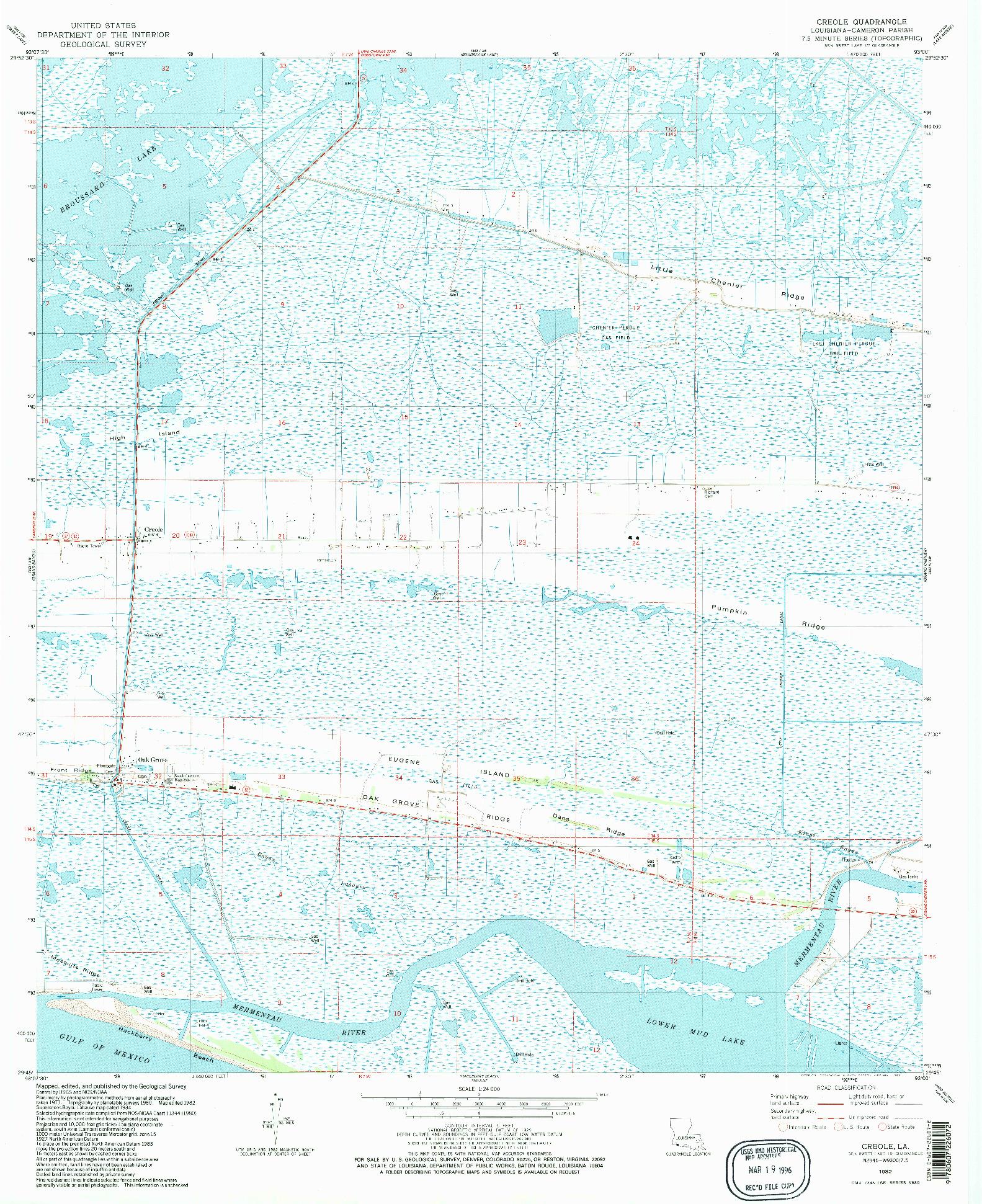 USGS 1:24000-SCALE QUADRANGLE FOR CREOLE, LA 1982