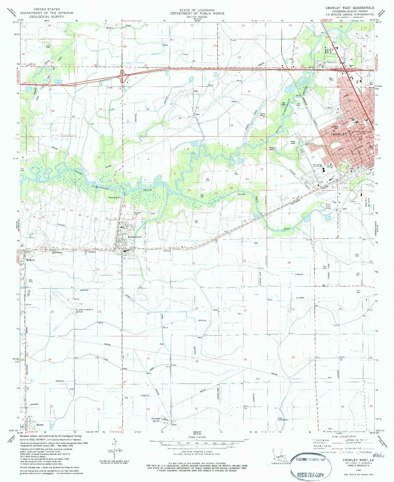 USGS 1:24000-SCALE QUADRANGLE FOR CROWLEY WEST, LA 1983