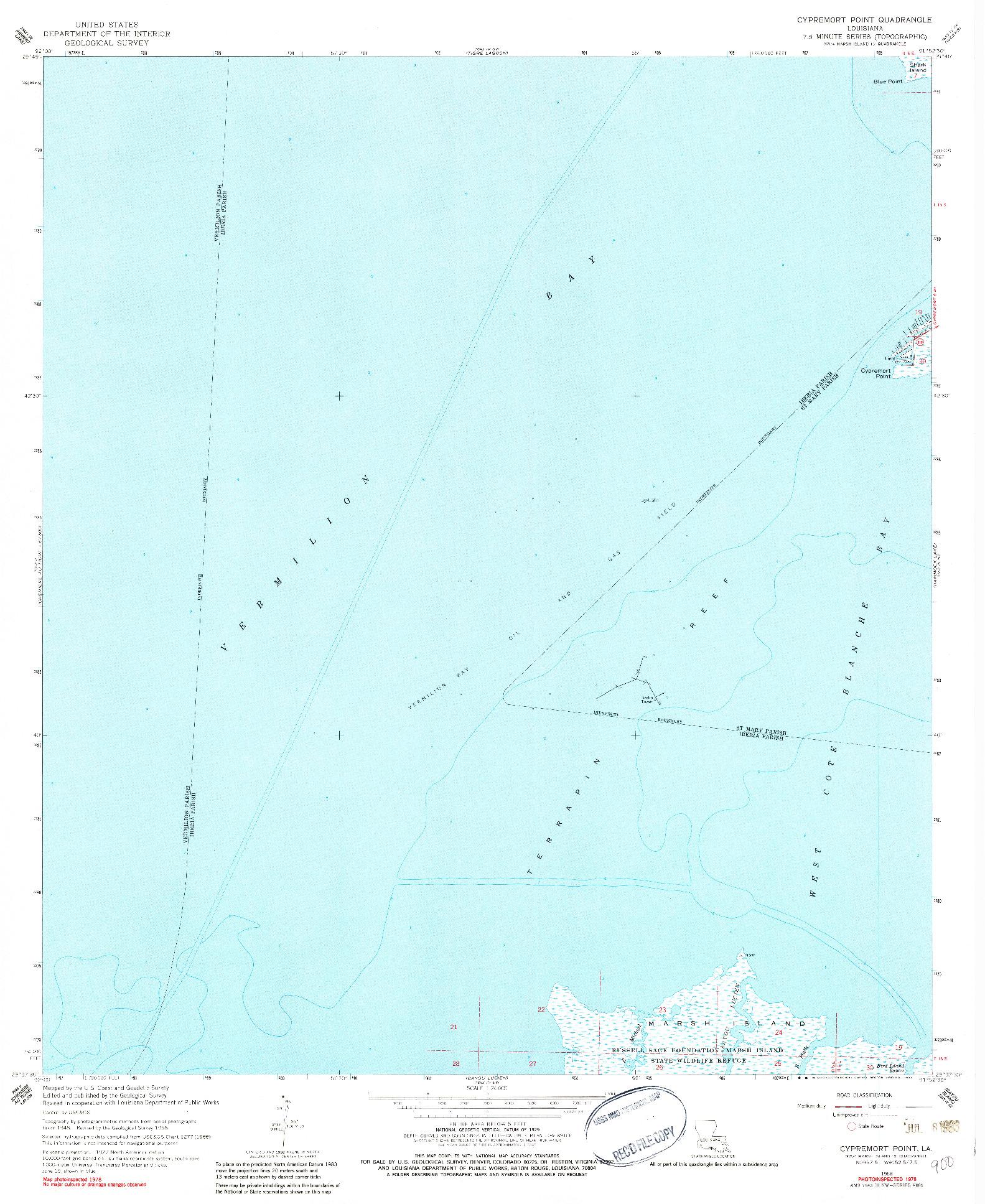 USGS 1:24000-SCALE QUADRANGLE FOR CYPREMORT POINT, LA 1968
