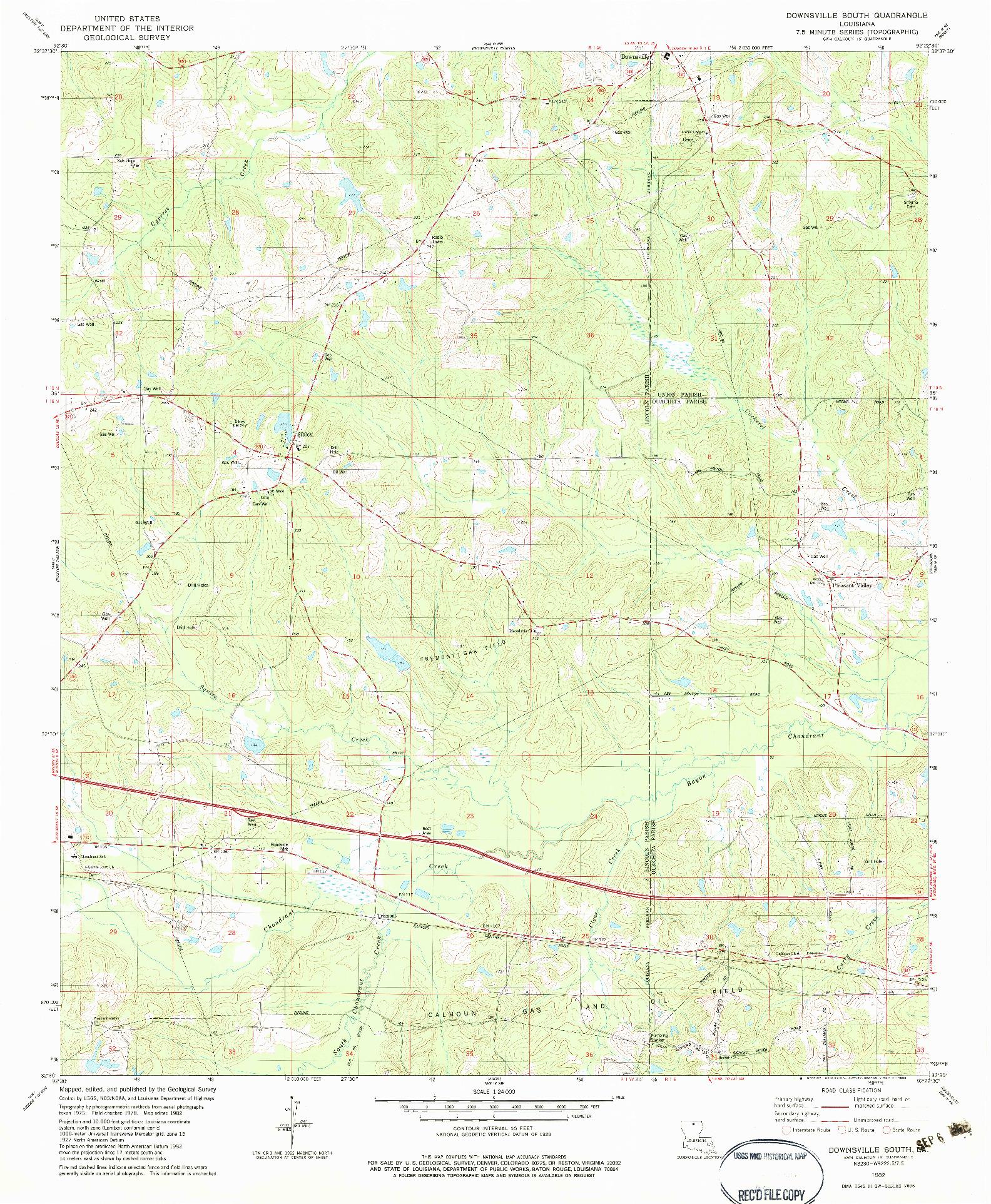 USGS 1:24000-SCALE QUADRANGLE FOR DOWNSVILLE SOUTH, LA 1982