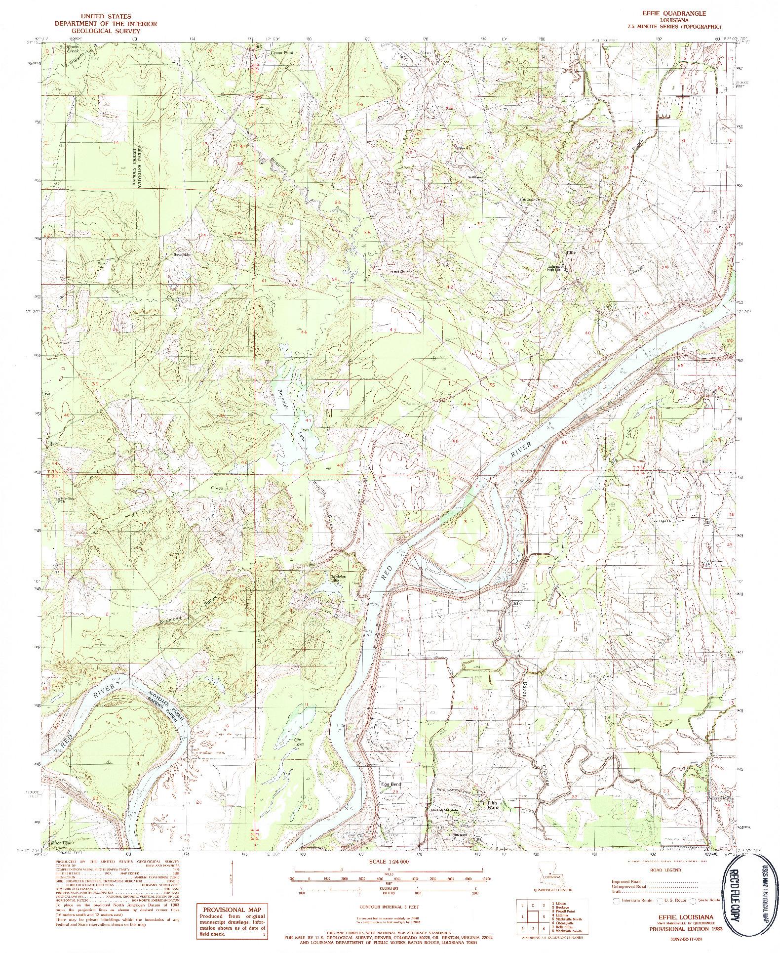 USGS 1:24000-SCALE QUADRANGLE FOR EFFIE, LA 1983