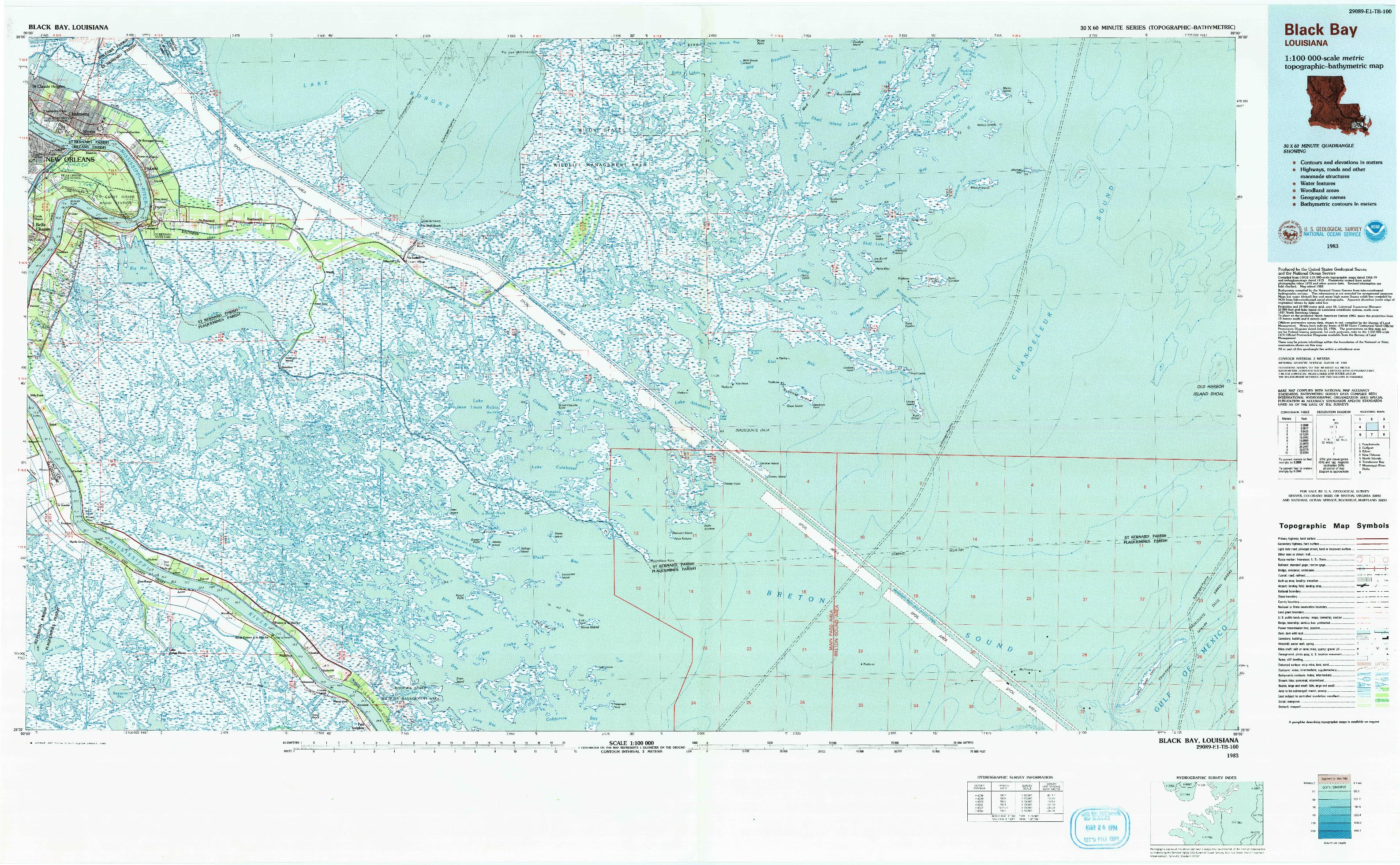USGS 1:100000-SCALE QUADRANGLE FOR BLACK BAY, LA 1983