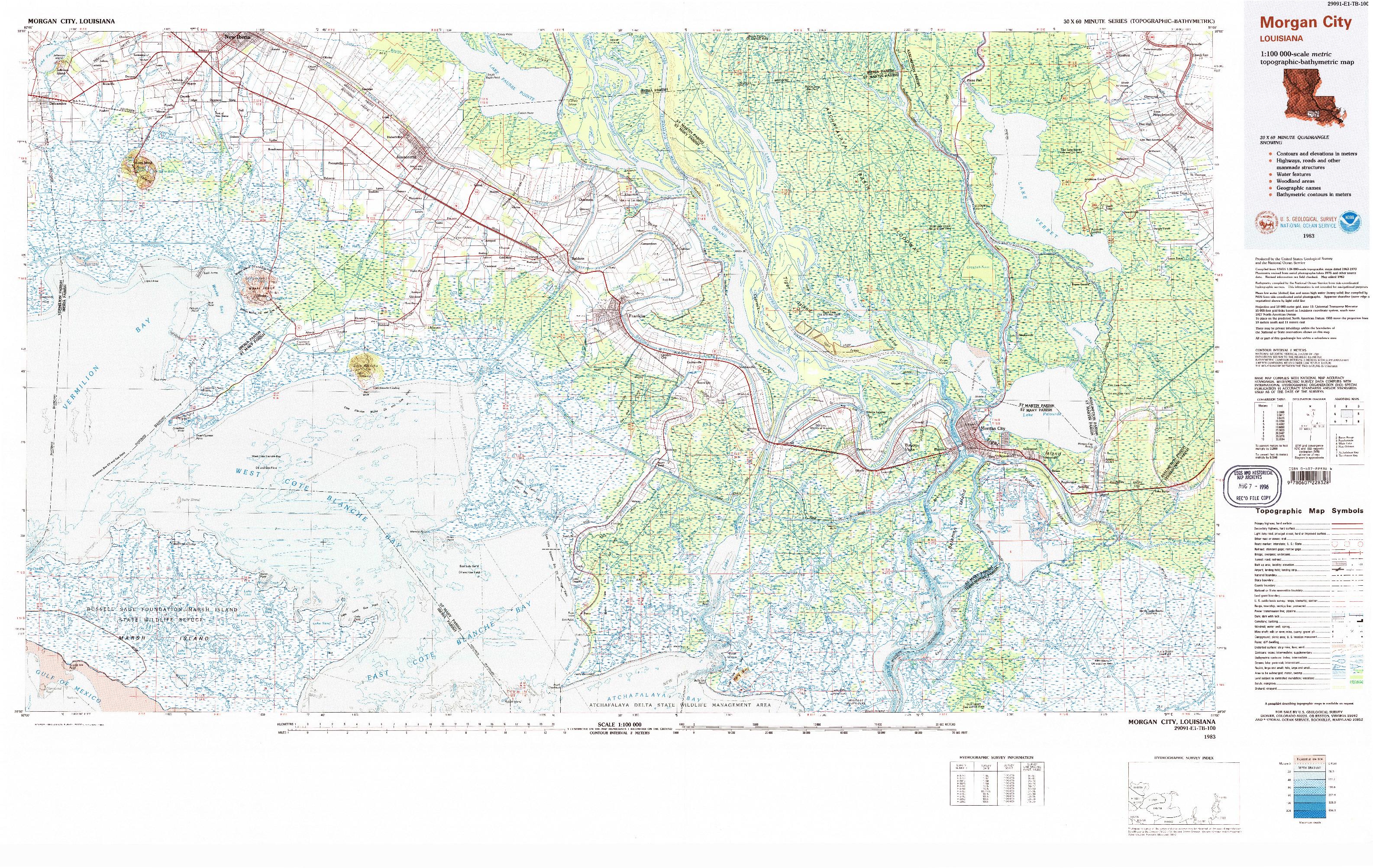 USGS 1:100000-SCALE QUADRANGLE FOR MORGAN CITY, LA 1983