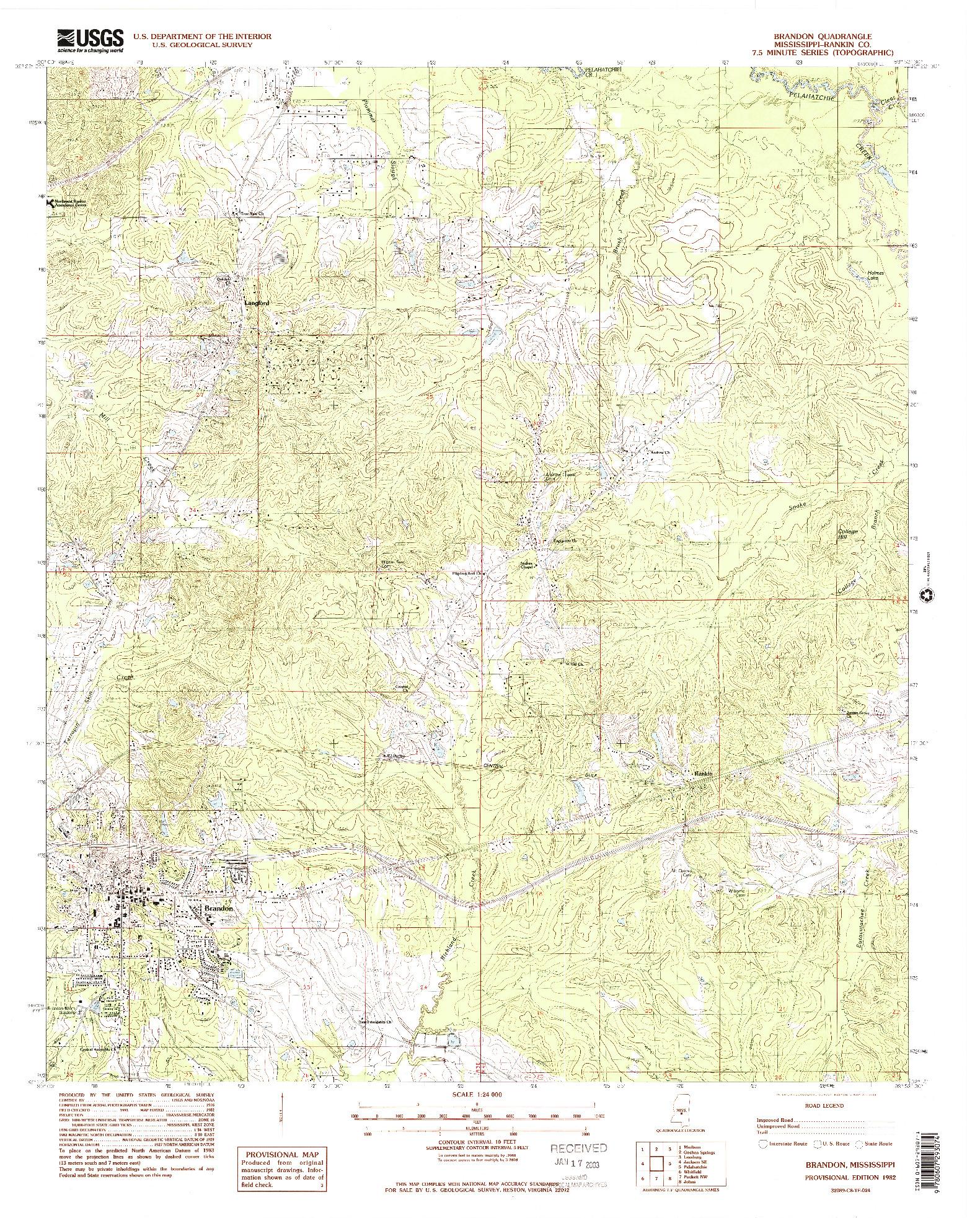 USGS 1:24000-SCALE QUADRANGLE FOR BRANDON, MS 1982