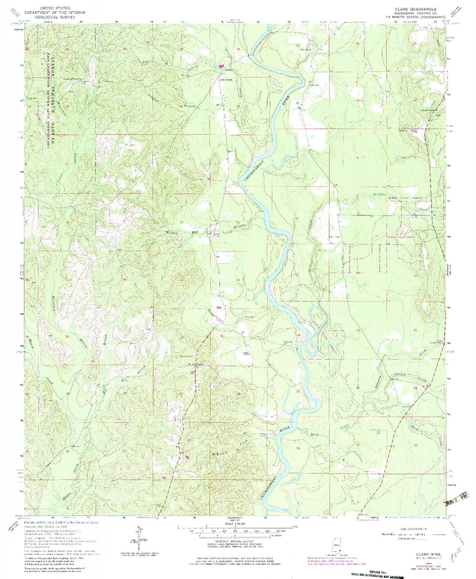 USGS 1:24000-SCALE QUADRANGLE FOR CLARK, MS 1964