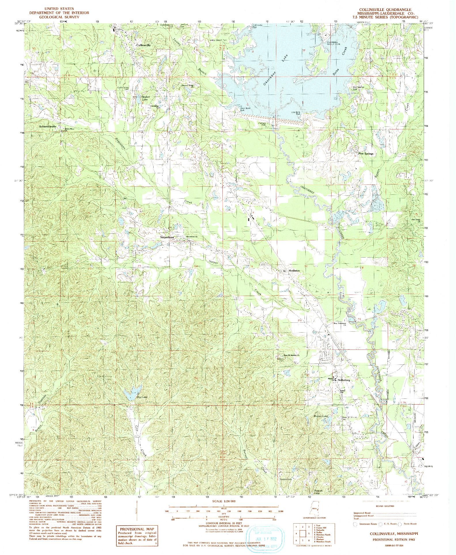 USGS 1:24000-SCALE QUADRANGLE FOR COLLINSVILLE, MS 1983