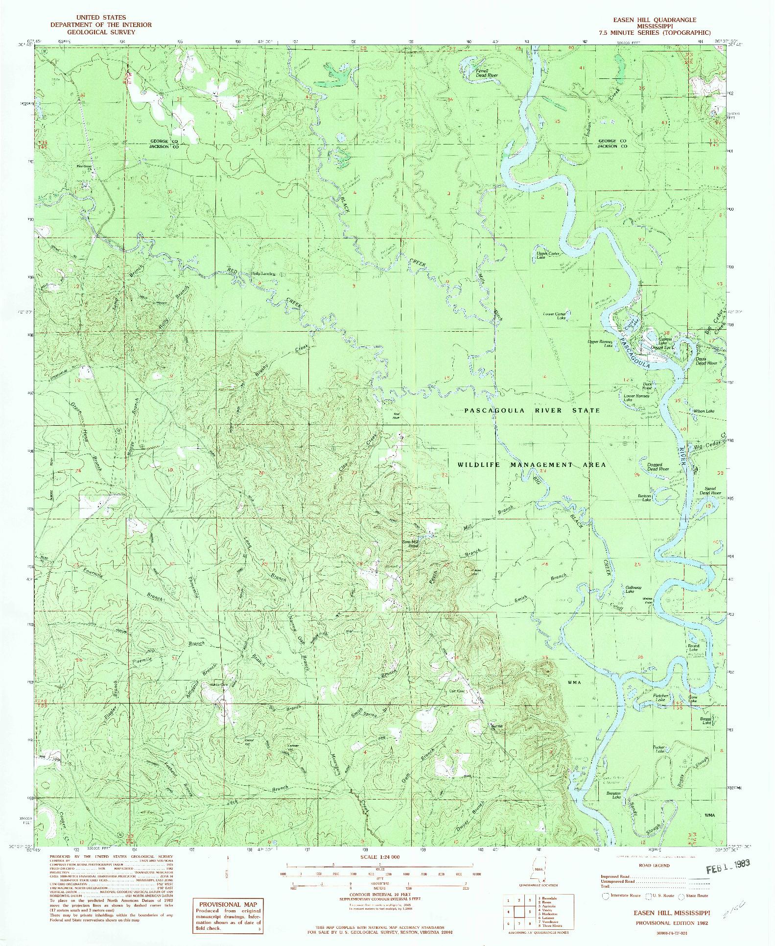 USGS 1:24000-SCALE QUADRANGLE FOR EASEN HILL, MS 1982