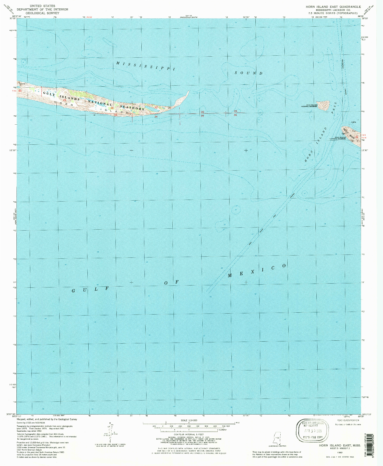USGS 1:24000-SCALE QUADRANGLE FOR HORN ISLAND EAST, MS 1982