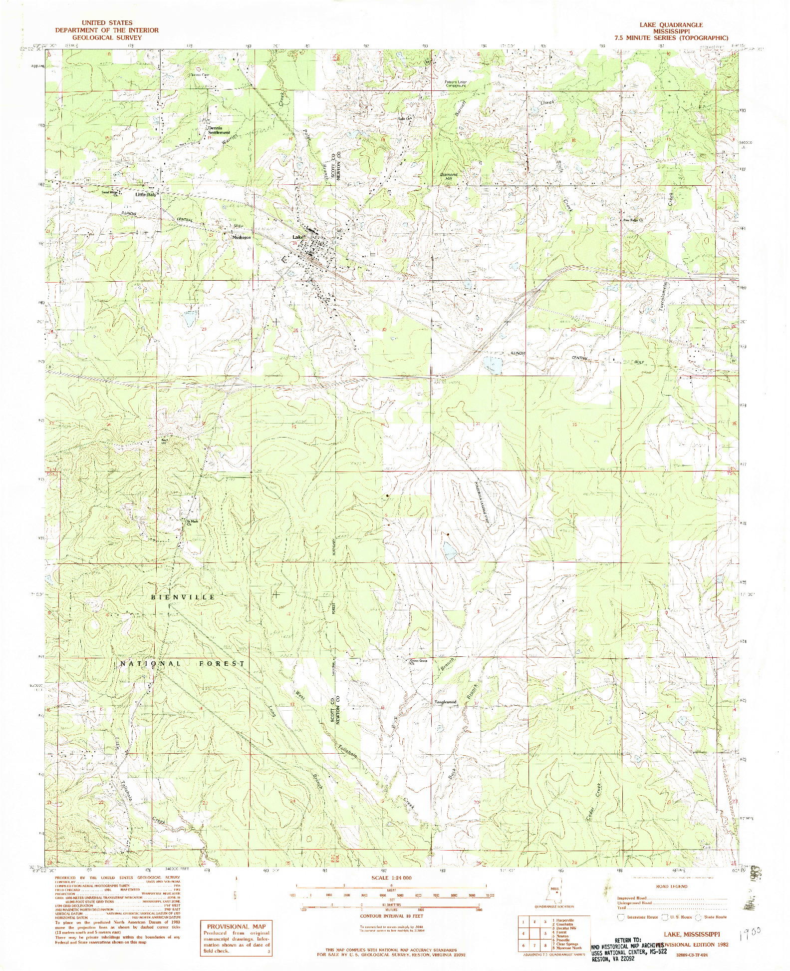 USGS 1:24000-SCALE QUADRANGLE FOR LAKE, MS 1982