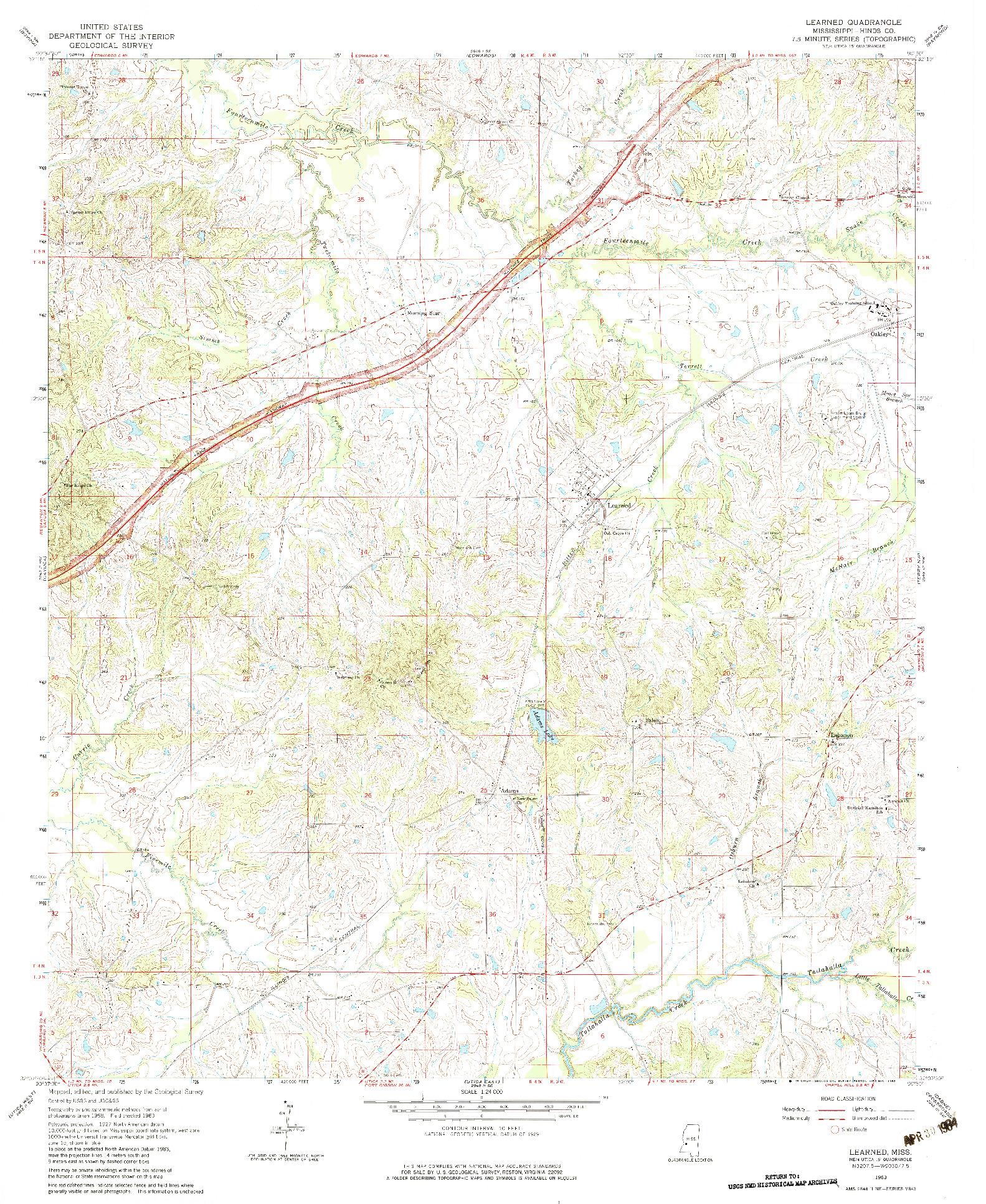 USGS 1:24000-SCALE QUADRANGLE FOR LEARNED, MS 1963