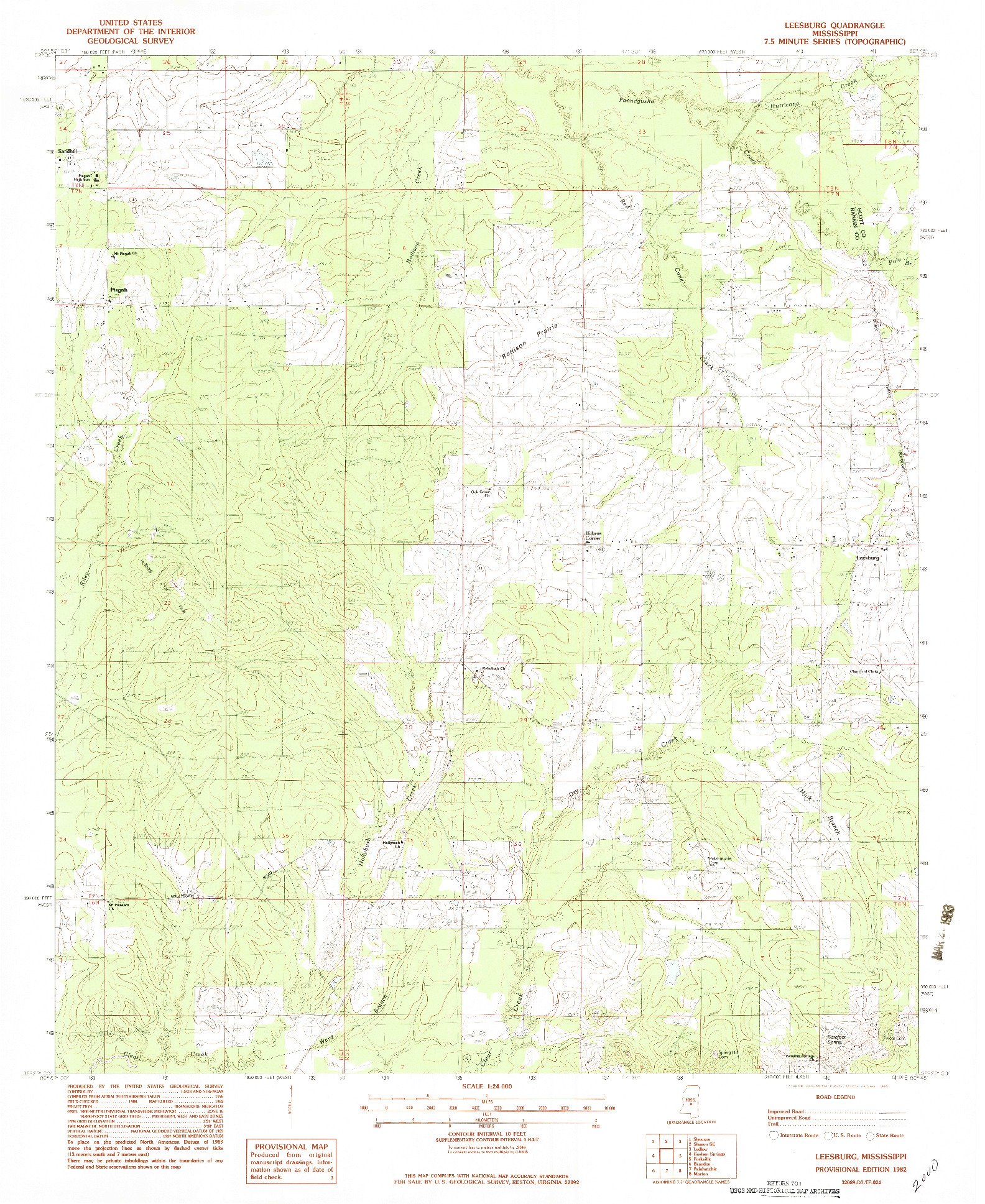 USGS 1:24000-SCALE QUADRANGLE FOR LEESBURG, MS 1982