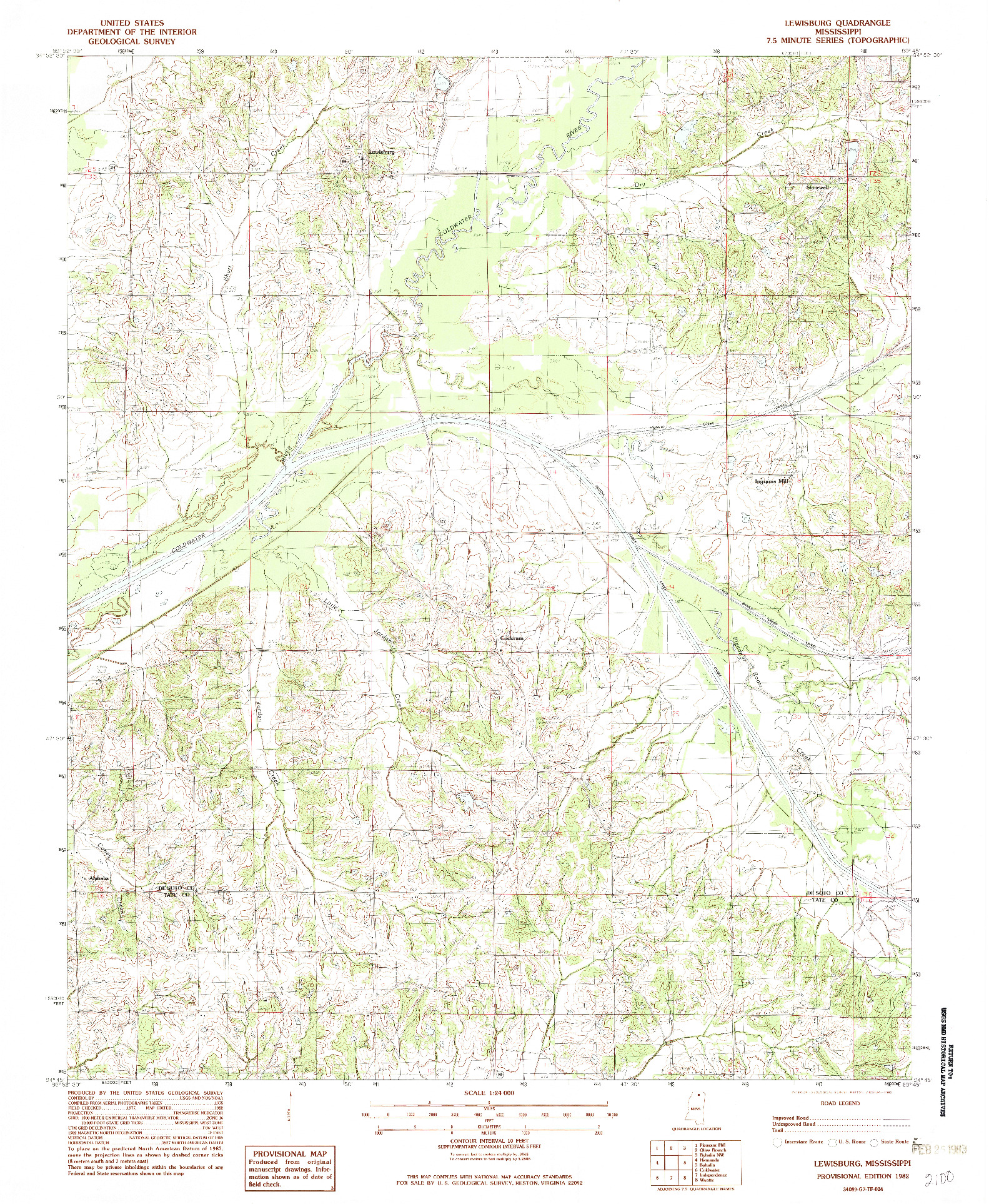 USGS 1:24000-SCALE QUADRANGLE FOR LEWISBURG, MS 1982