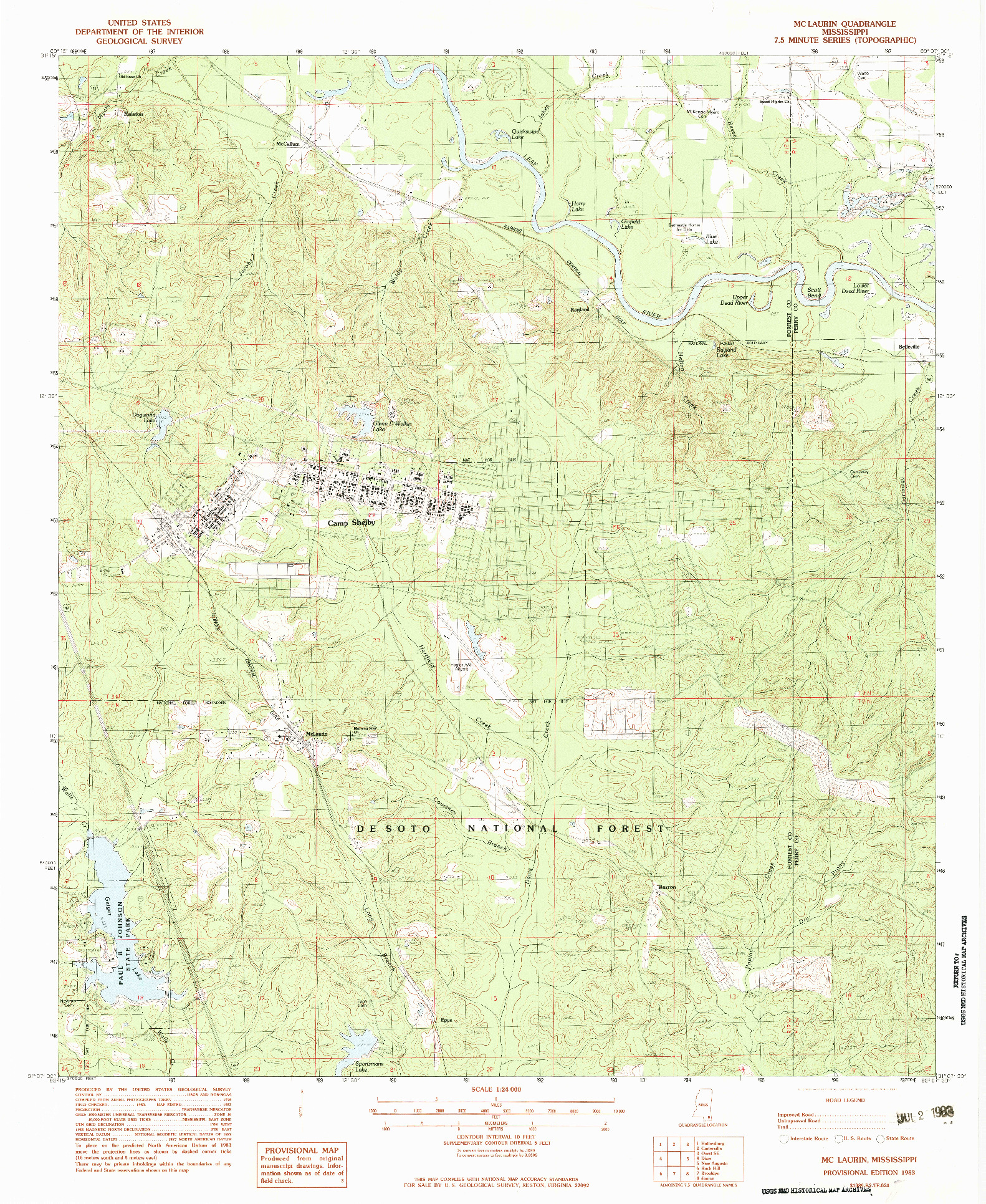 USGS 1:24000-SCALE QUADRANGLE FOR MCLAURIN, MS 1983