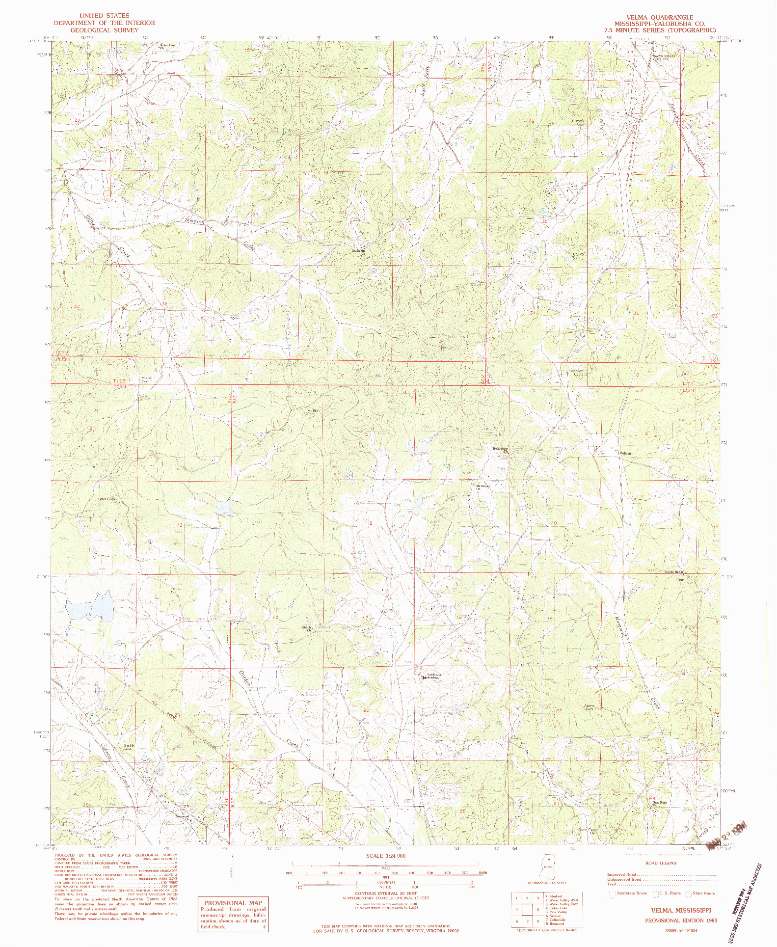 USGS 1:24000-SCALE QUADRANGLE FOR VELMA, MS 1983