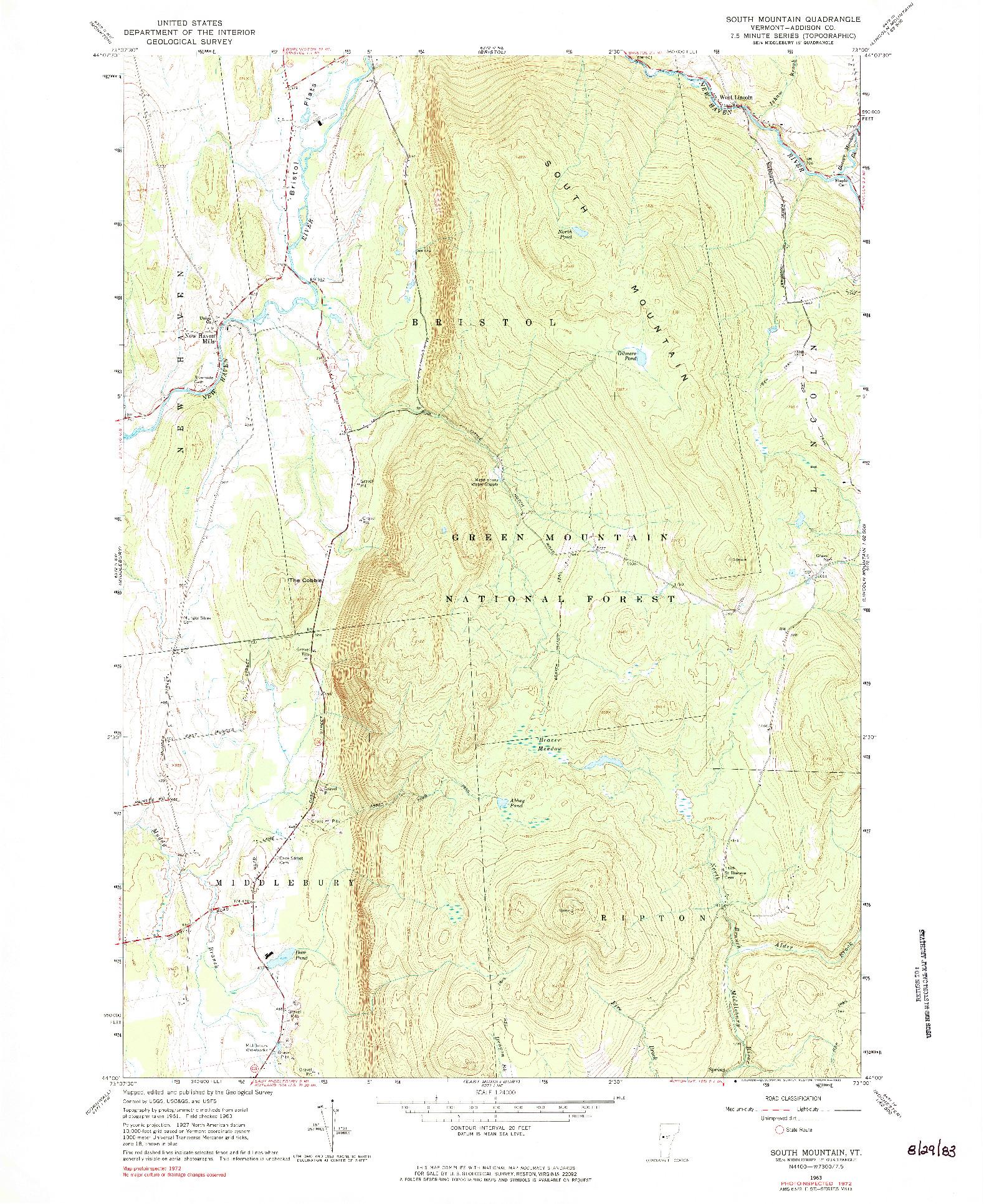 USGS 1:24000-SCALE QUADRANGLE FOR SOUTH MOUNTAIN, VT 1963