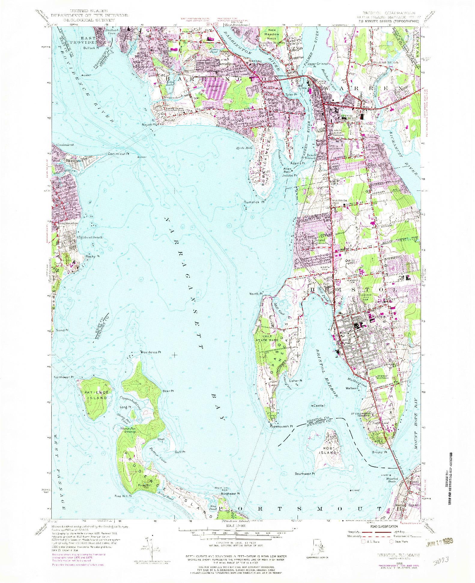 USGS 1:24000-SCALE QUADRANGLE FOR BRISTOL, RI 1955