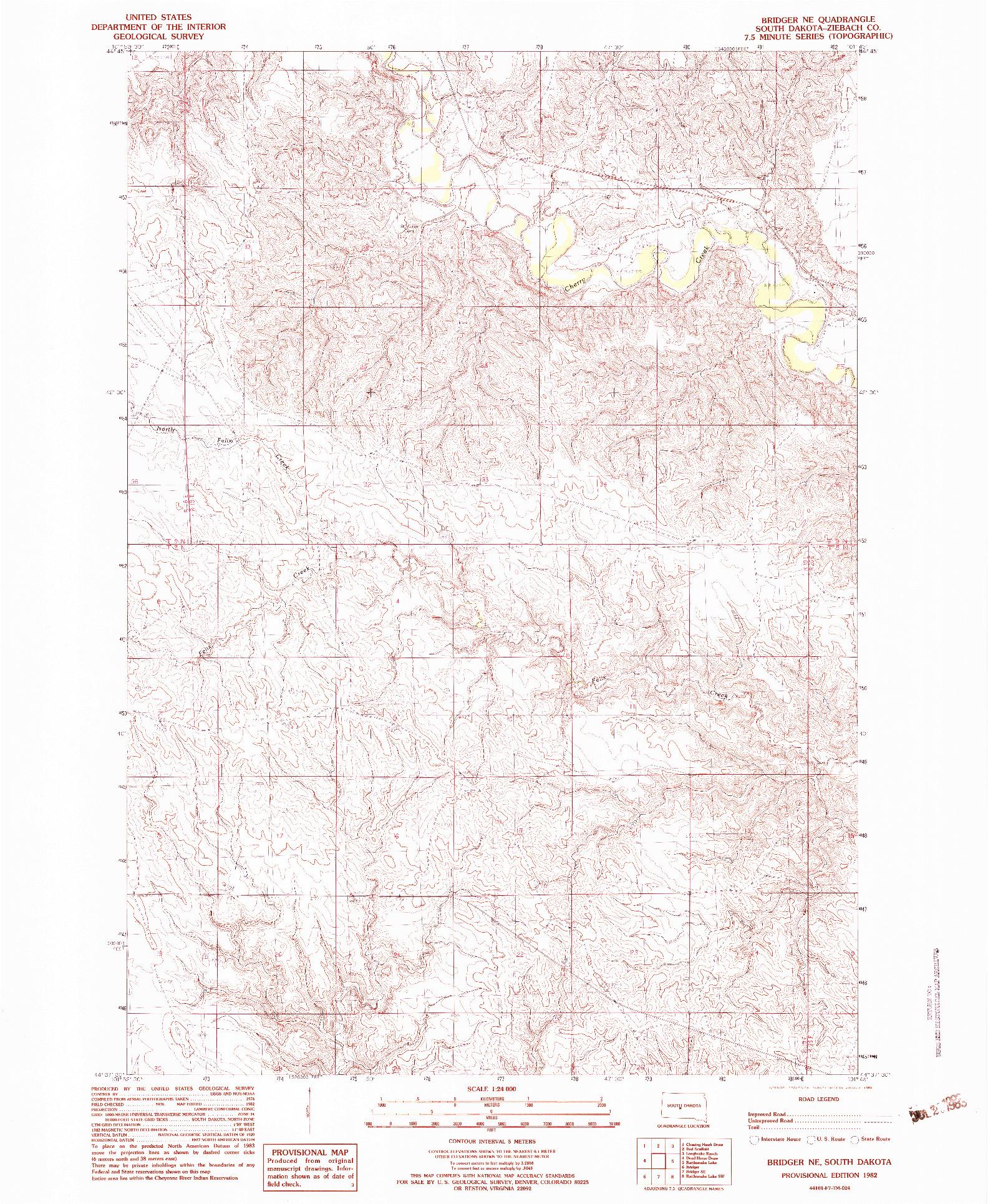 USGS 1:24000-SCALE QUADRANGLE FOR BRIDGER NE, SD 1982