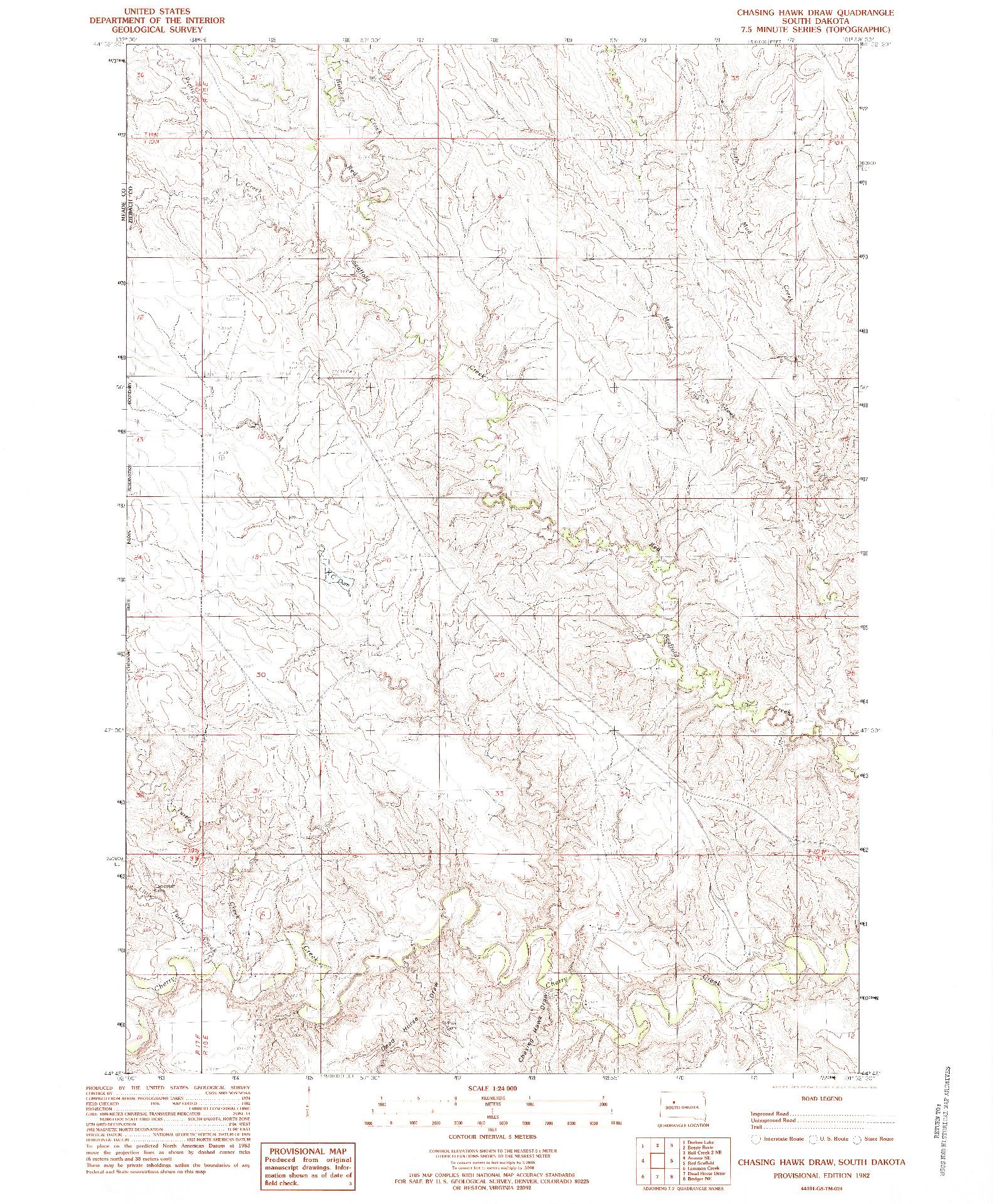 USGS 1:24000-SCALE QUADRANGLE FOR CHASING HAWK DRAW, SD 1982