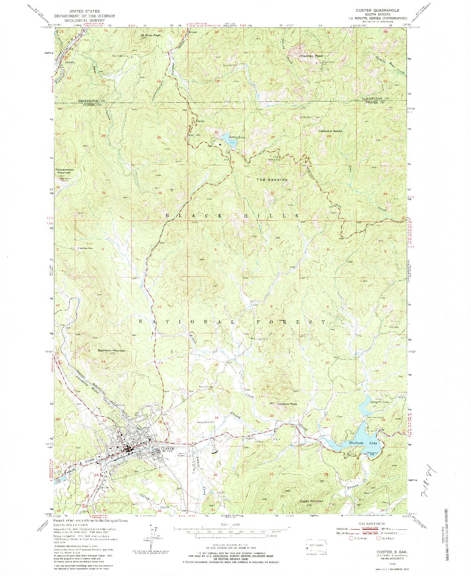 USGS 1:24000-SCALE QUADRANGLE FOR CUSTER, SD 1954